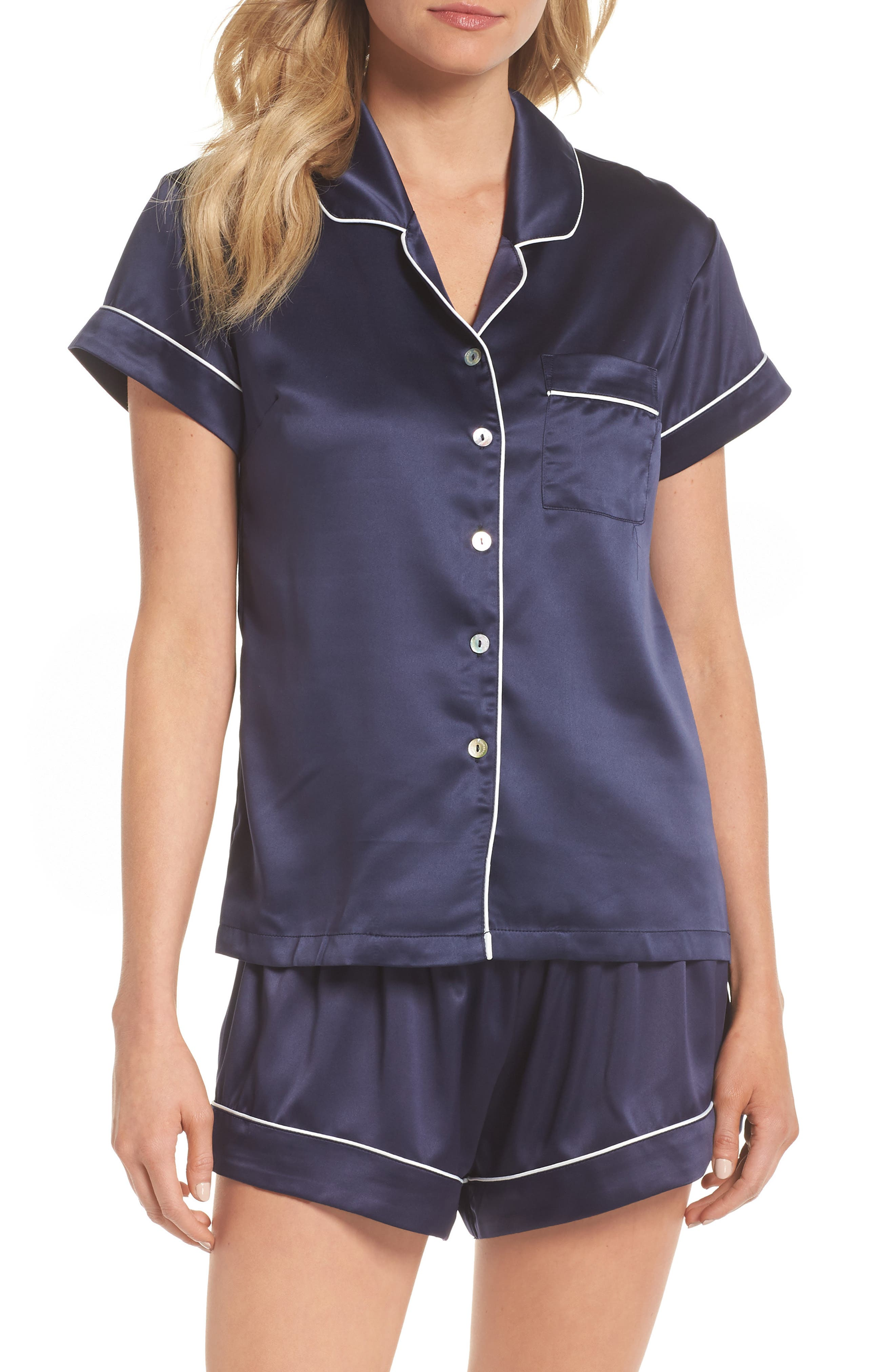 Piped Short Pajamas,                         Main,                         color, BLUE