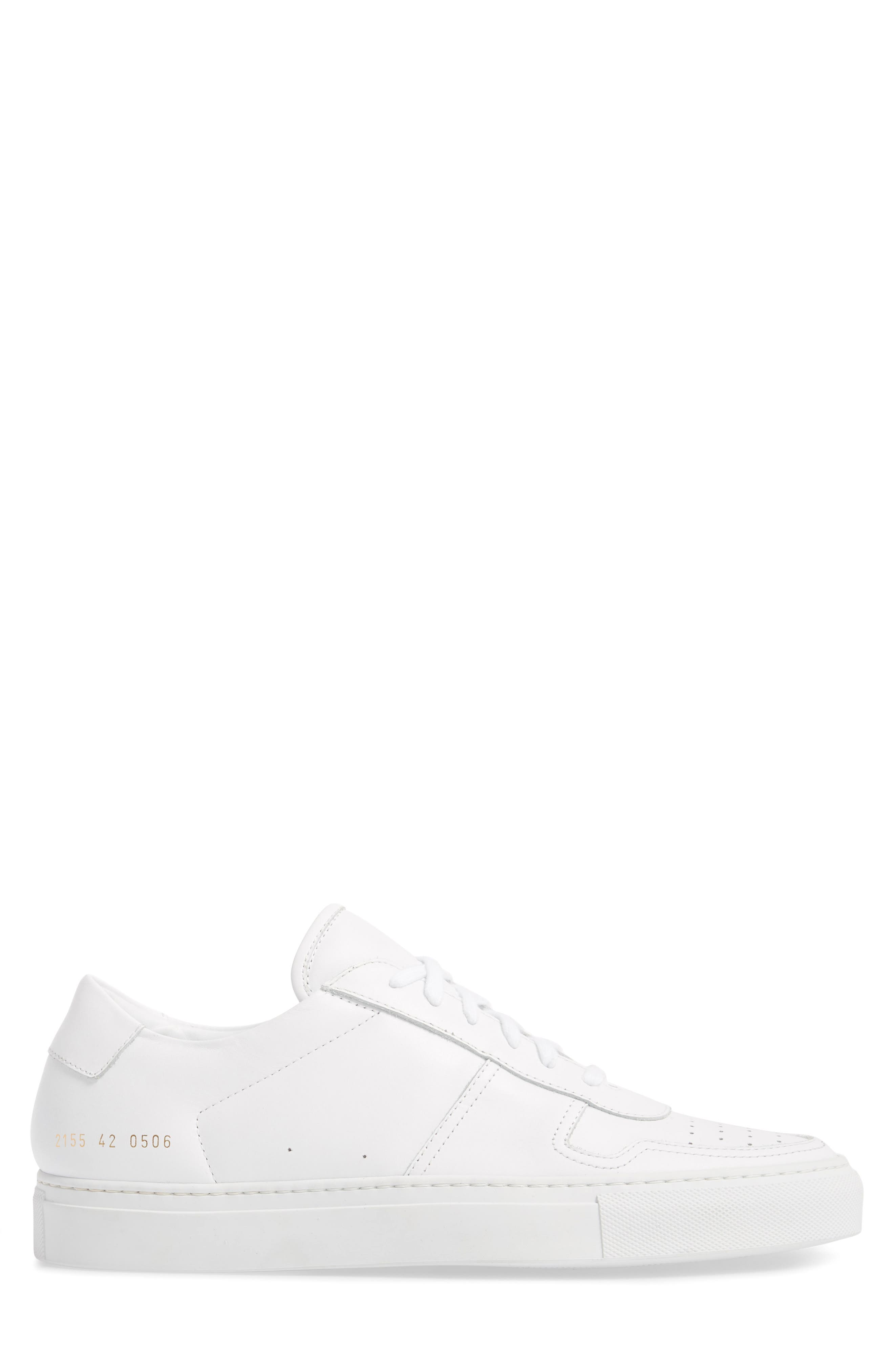 Bball Low Top Sneaker,                             Alternate thumbnail 3, color,                             WHITE LEATHER