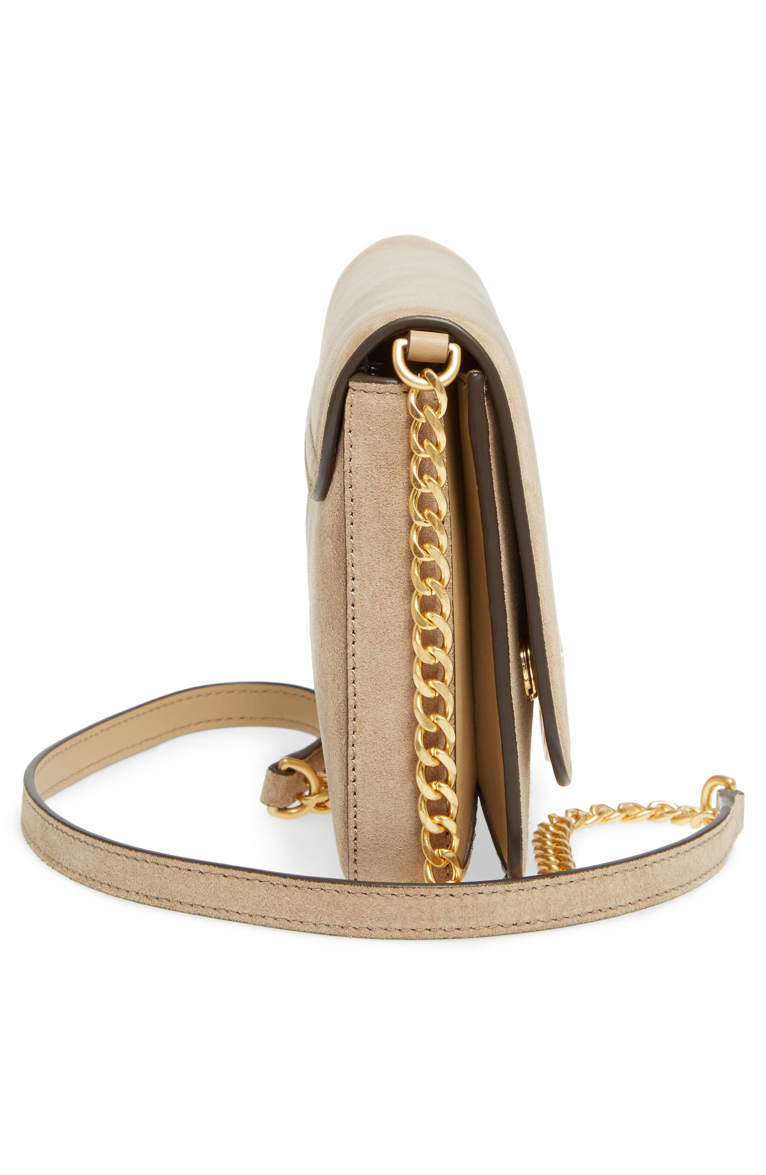 Chelsea Convertible Metallic Leather Clutch,                             Alternate thumbnail 5, color,                             710