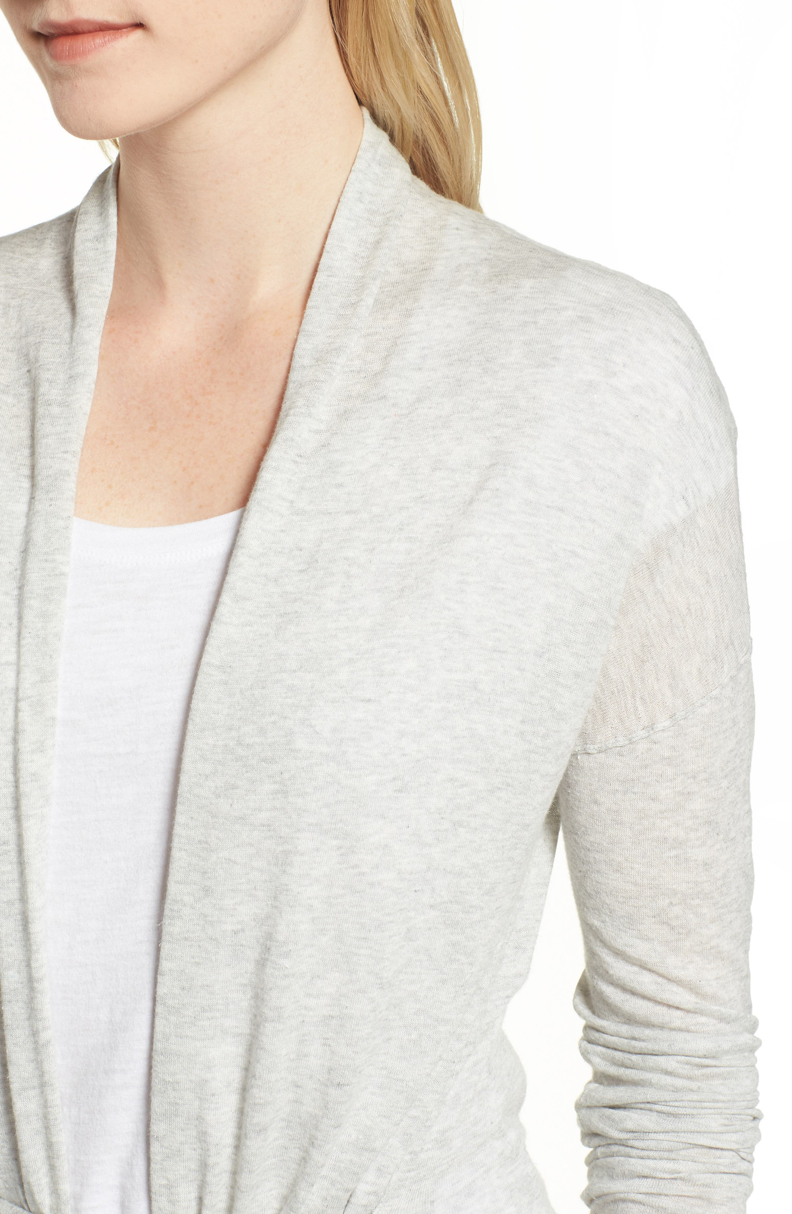 Belted Cotton Cardigan,                             Alternate thumbnail 4, color,                             HEATHER GREY