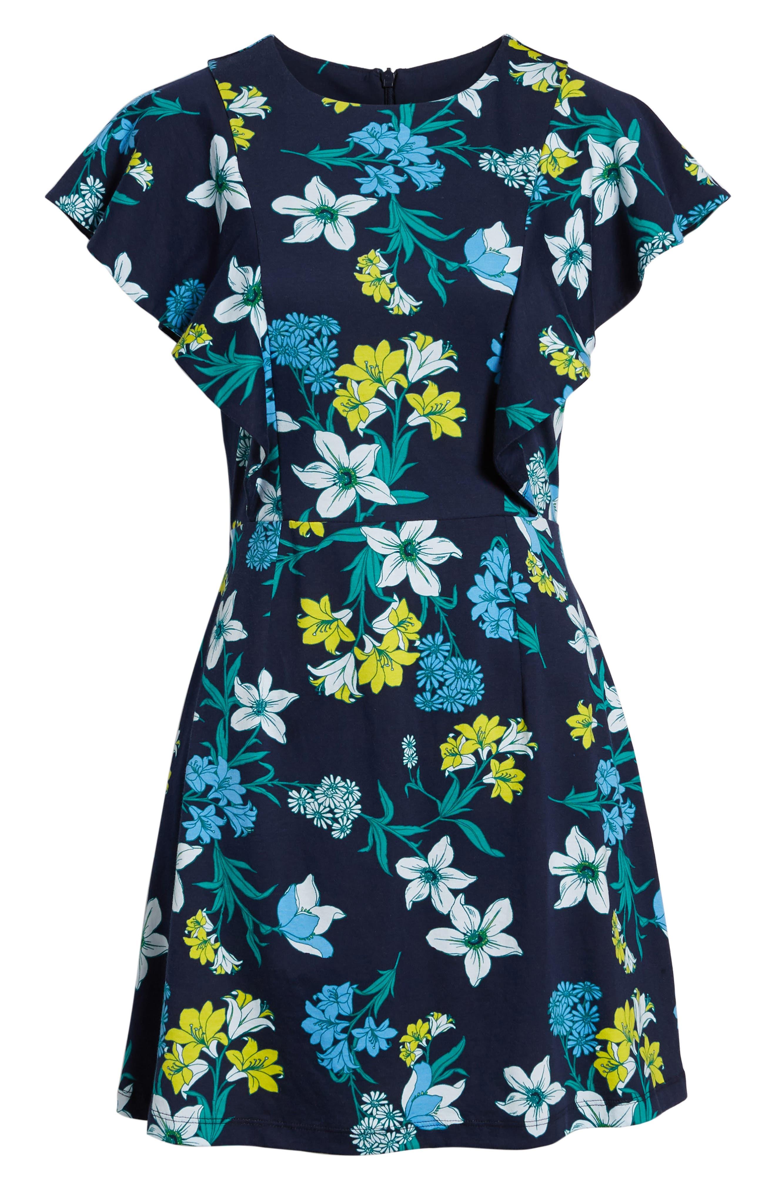 Floral Ruffle Cotton Dress,                             Alternate thumbnail 6, color,