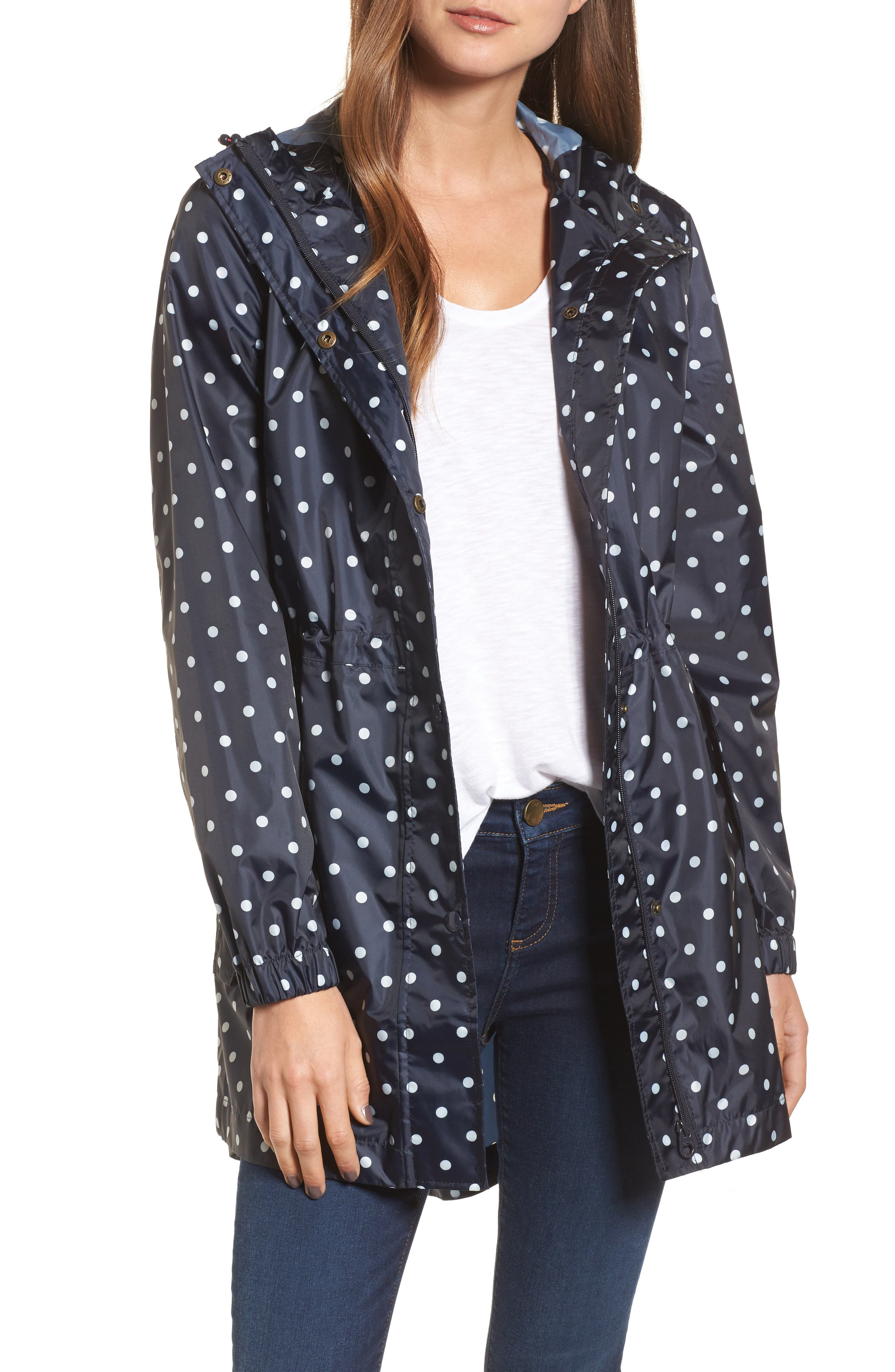 Right as Rain Packable Print Hooded Raincoat,                         Main,                         color, NAVY SPOT