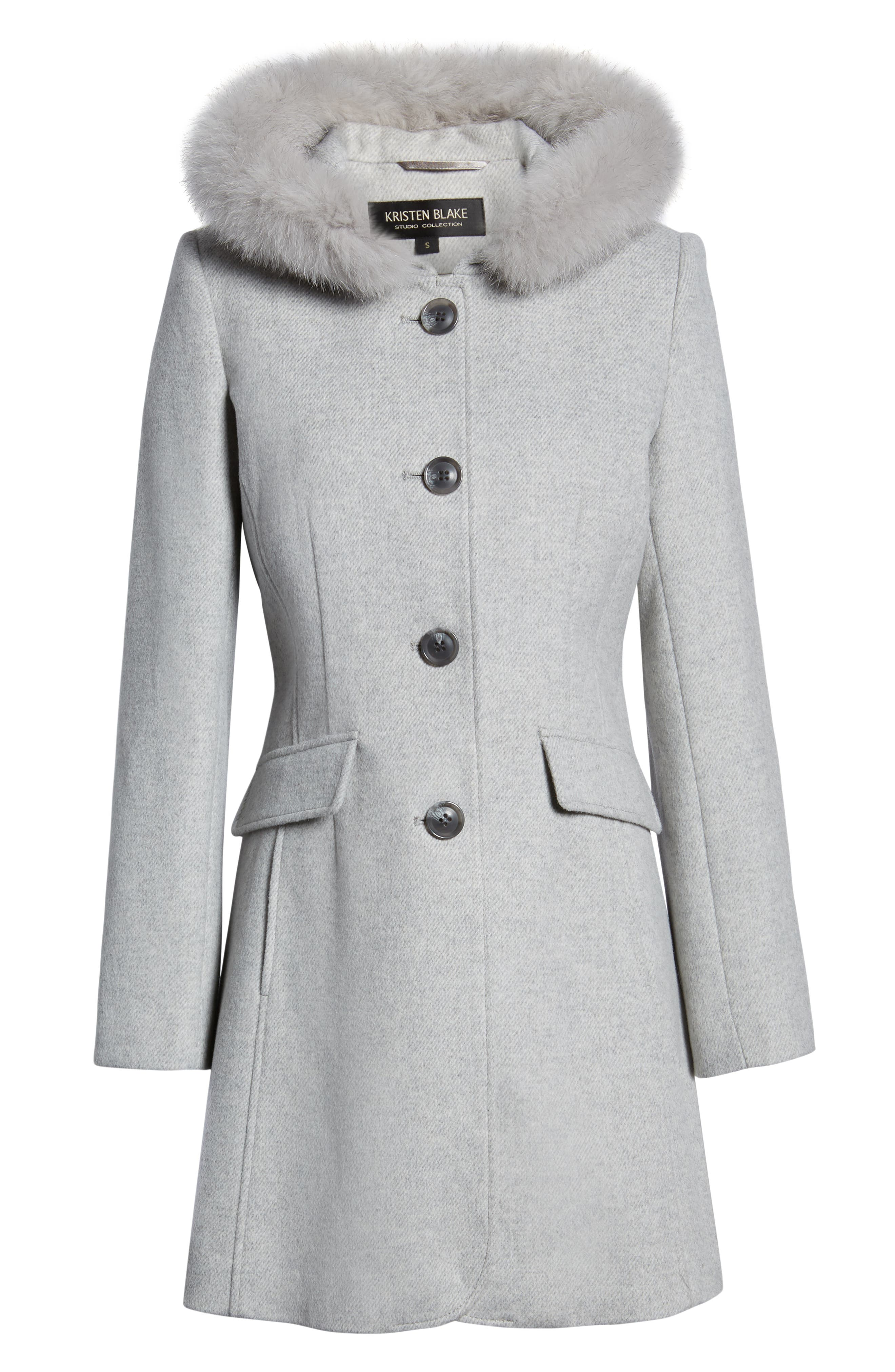 KRISTEN BLAKE,                             Genuine Fox Trim Hooded Wool Coat,                             Alternate thumbnail 6, color,                             GREY MELANGE