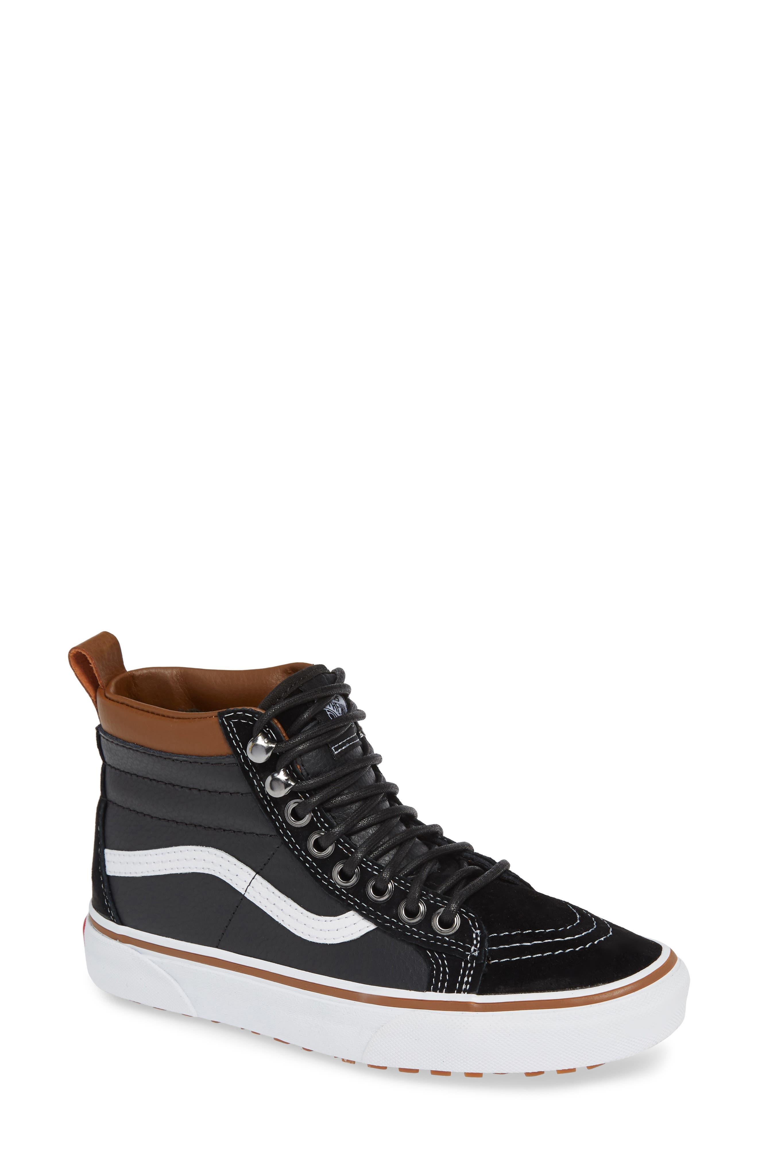 Sk-8 Hi MTE Sneaker,                             Main thumbnail 1, color,                             LEATHER/ BLACK/ TRUE WHITE