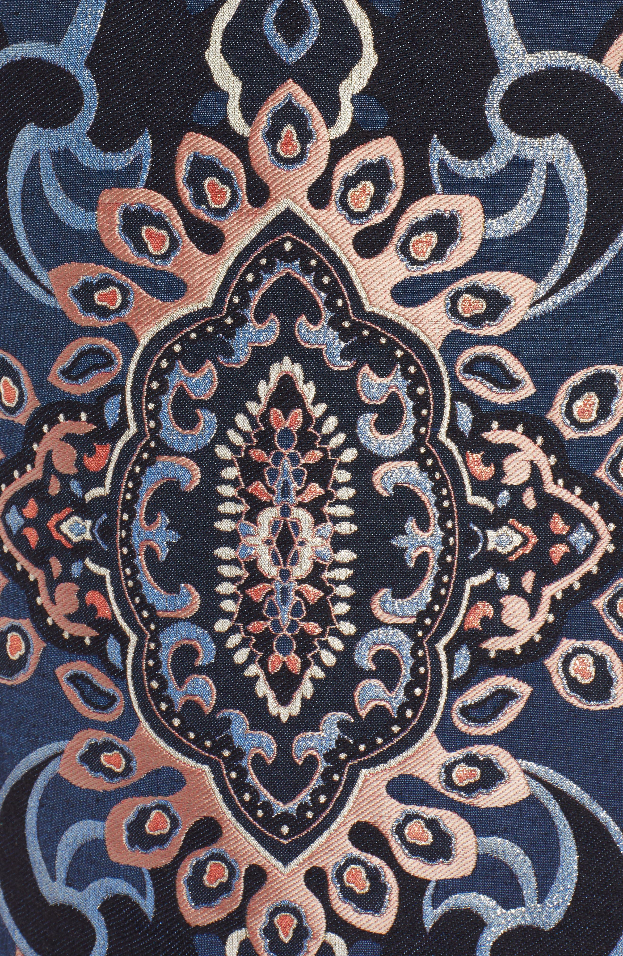 Button Detail Skirt,                             Alternate thumbnail 5, color,                             NAVY MULTI BROCADE