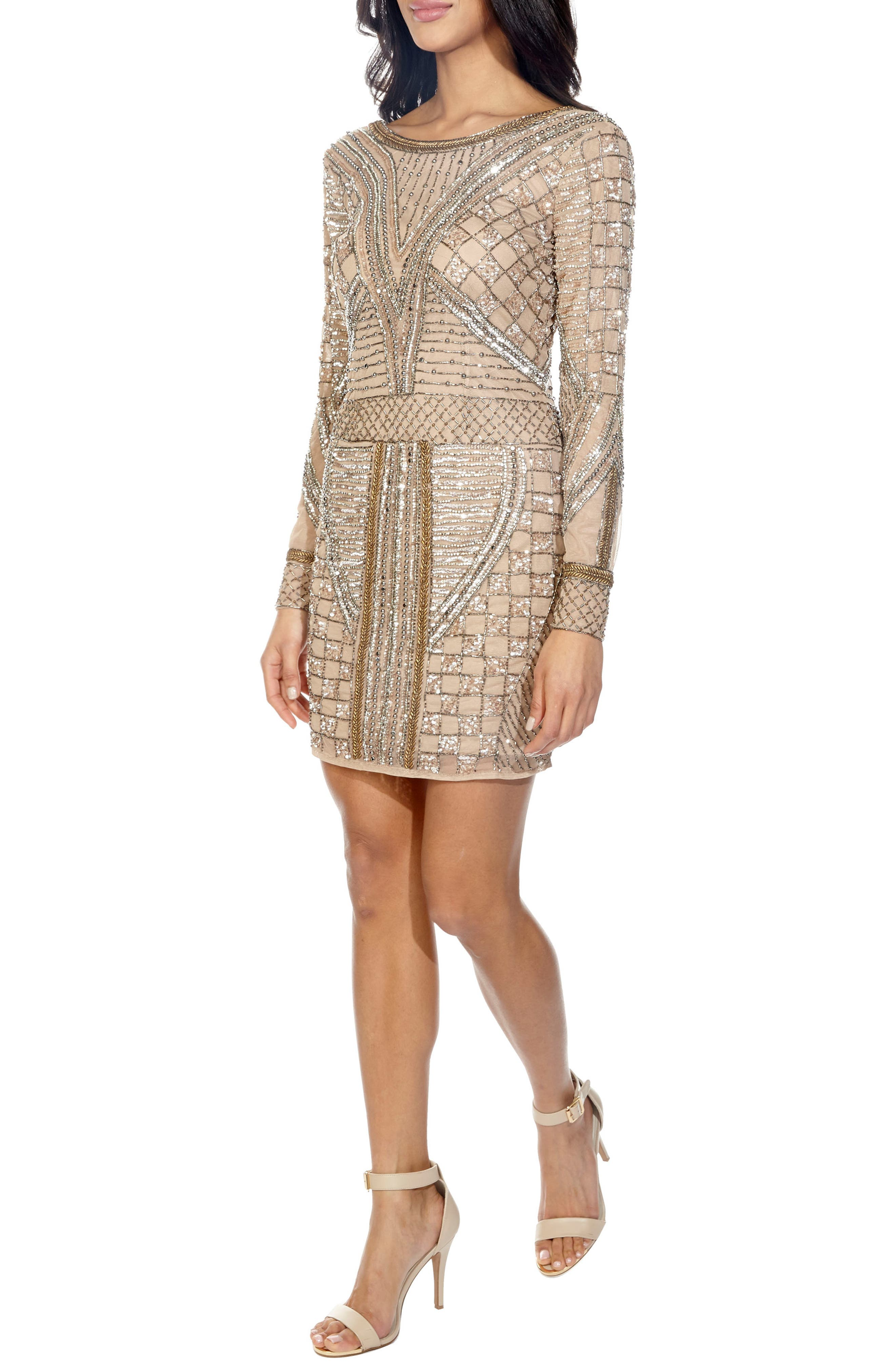 Hyacinth Sparkle Minidress,                             Alternate thumbnail 3, color,                             TAUPE