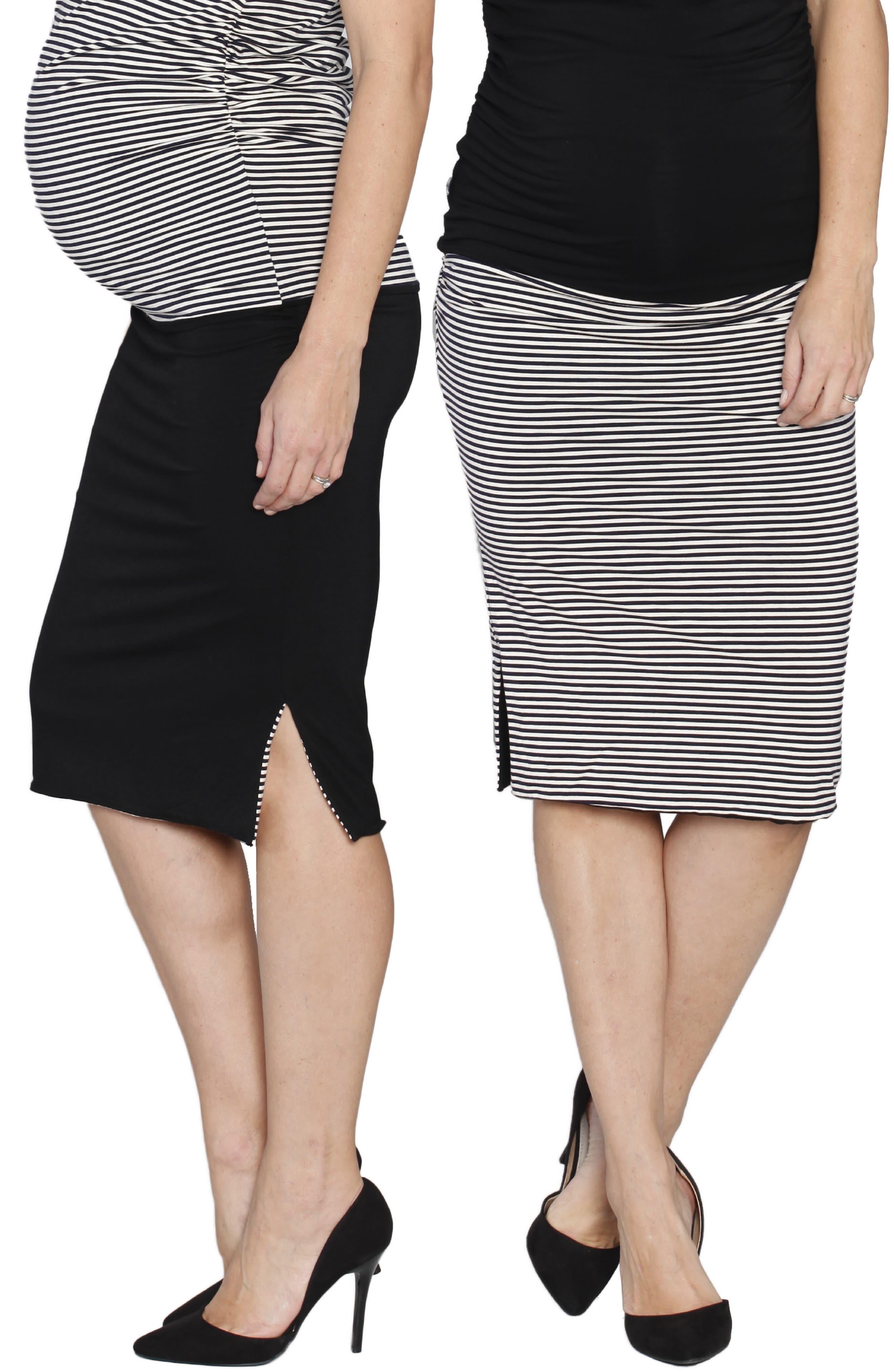 Reversible Maternity Skirt,                             Alternate thumbnail 3, color,                             STRIPES