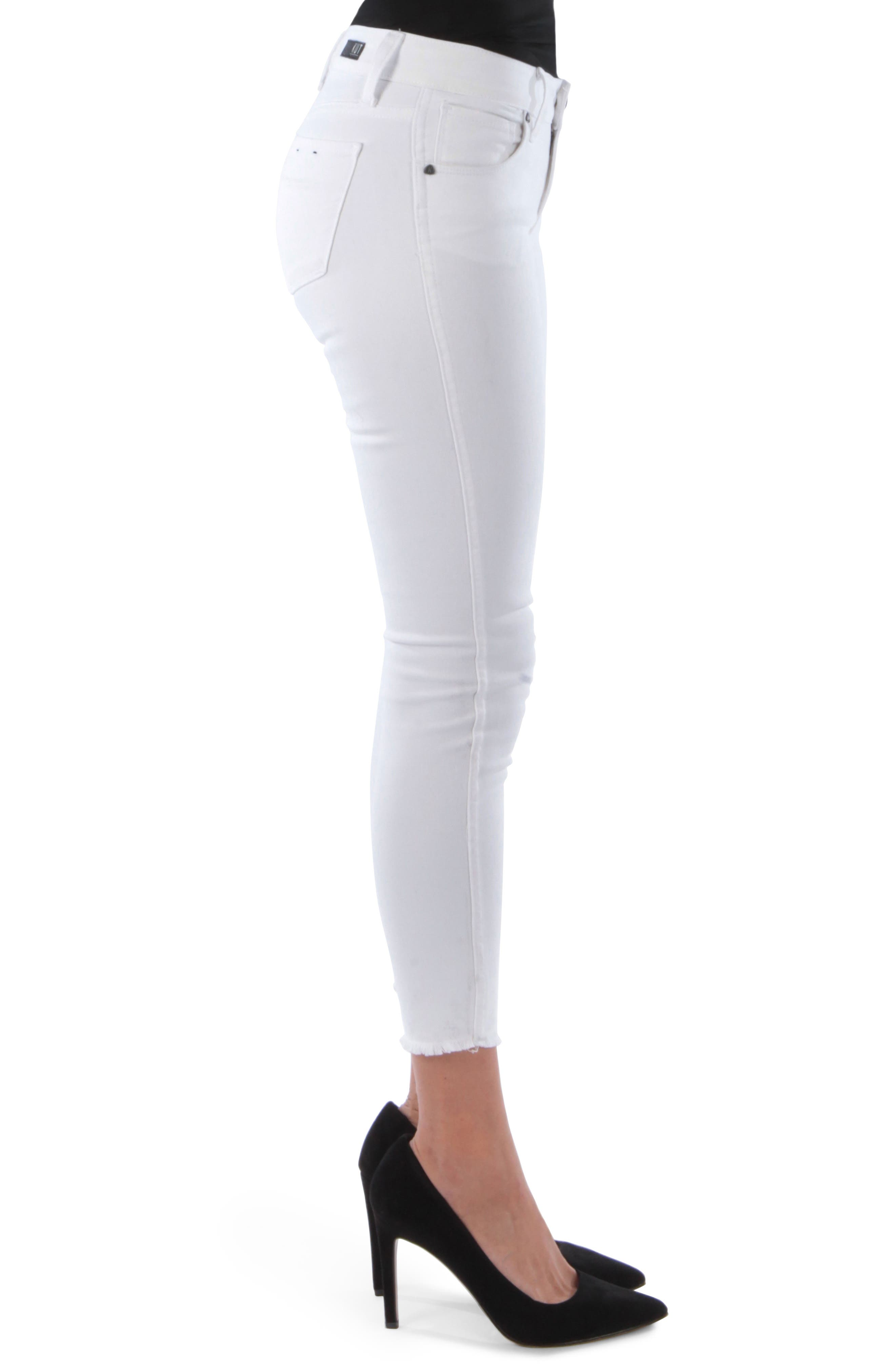 KUT FROM THE KLOTH,                             Connie Frayed Ankle Skinny Jeans,                             Alternate thumbnail 3, color,                             OPTICAL WHITE