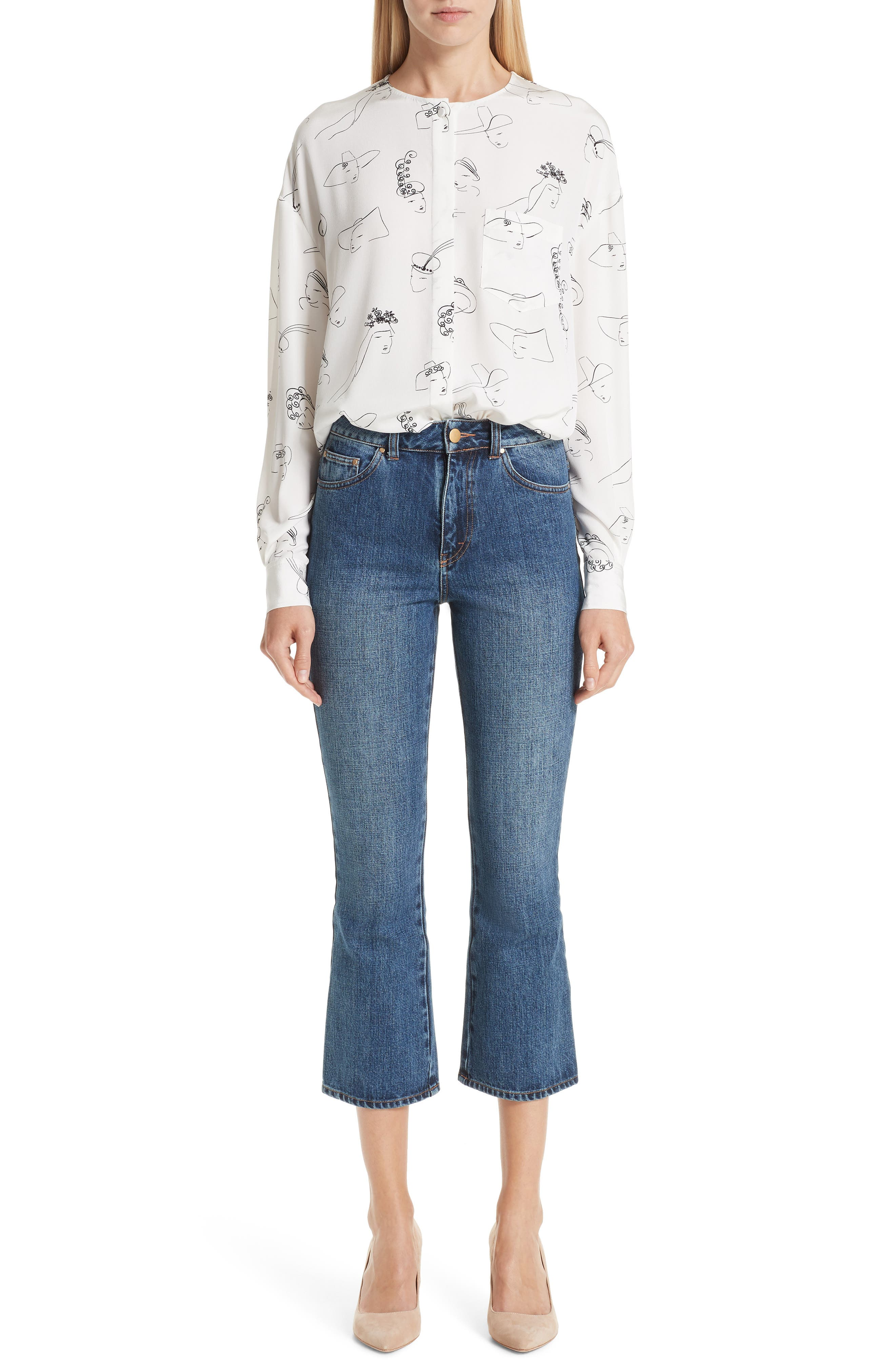 Ankle Flare High Waist Jeans,                             Alternate thumbnail 7, color,                             401