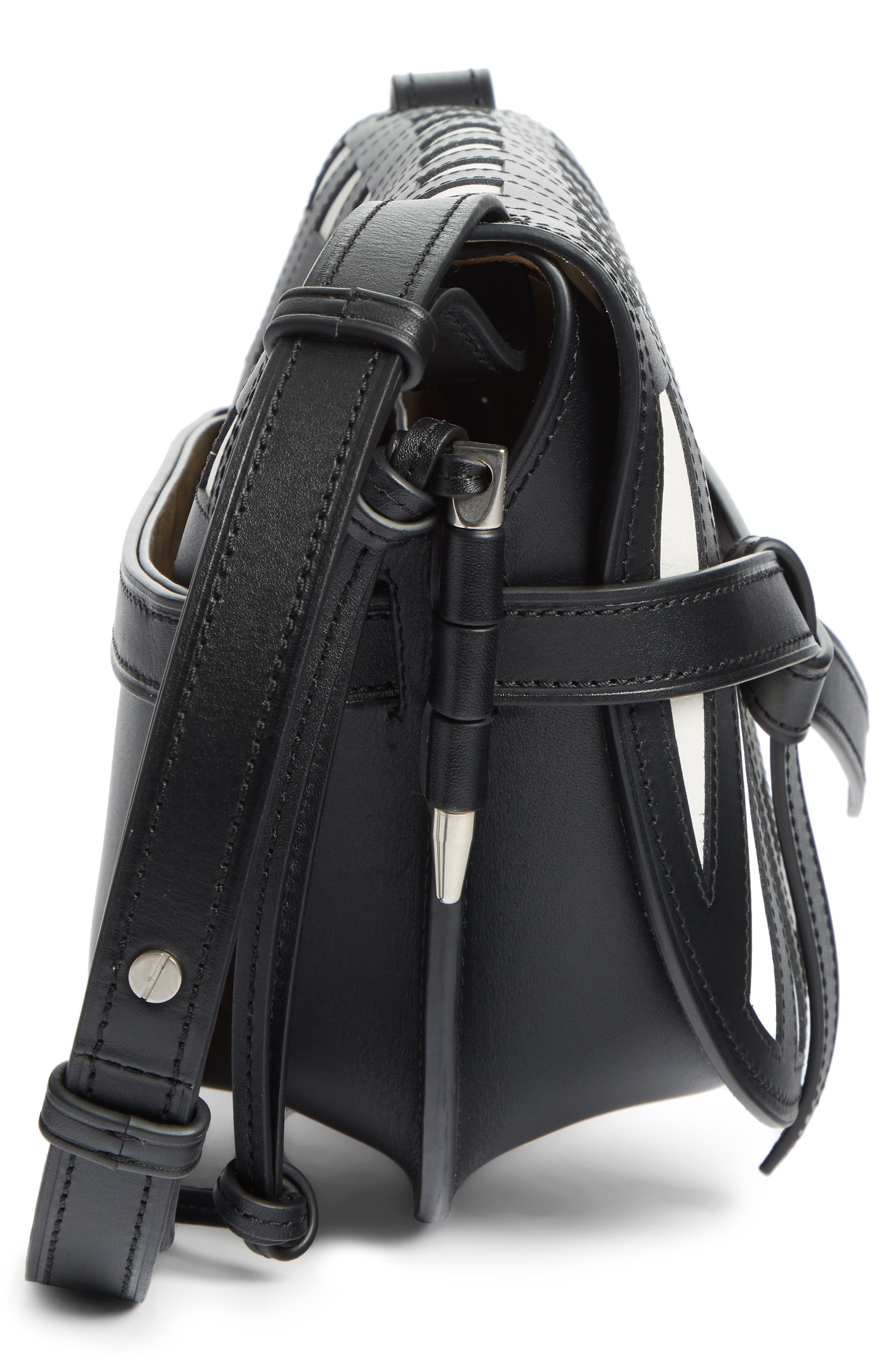 Small Gate Grid Leather Crossbody Bag,                             Alternate thumbnail 3, color,                             BLACK/ WHITE
