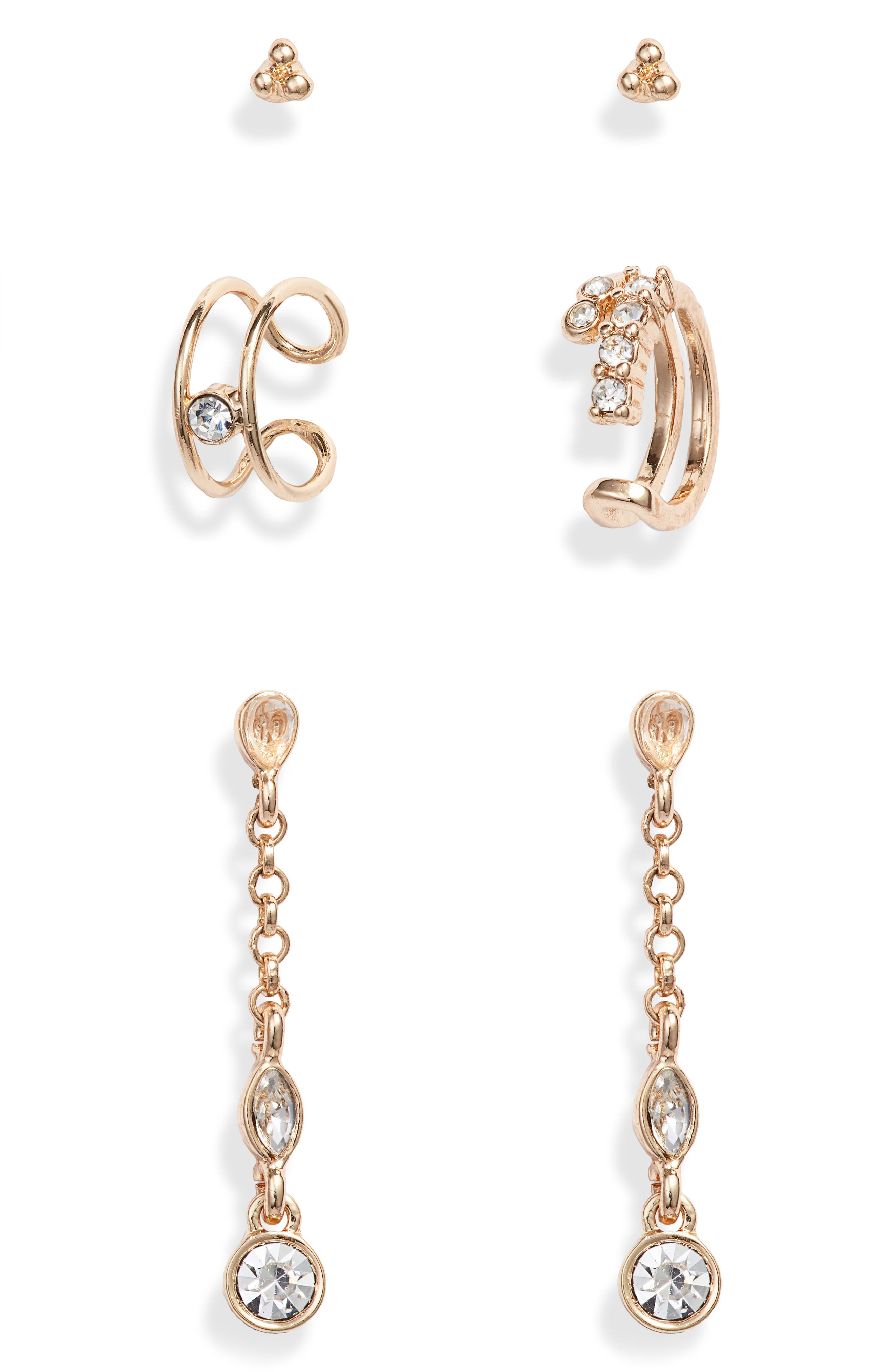 TREASURE & BOND Set of Three Jeweled Earrings, Main, color, CLEAR- ROSE- GOLD