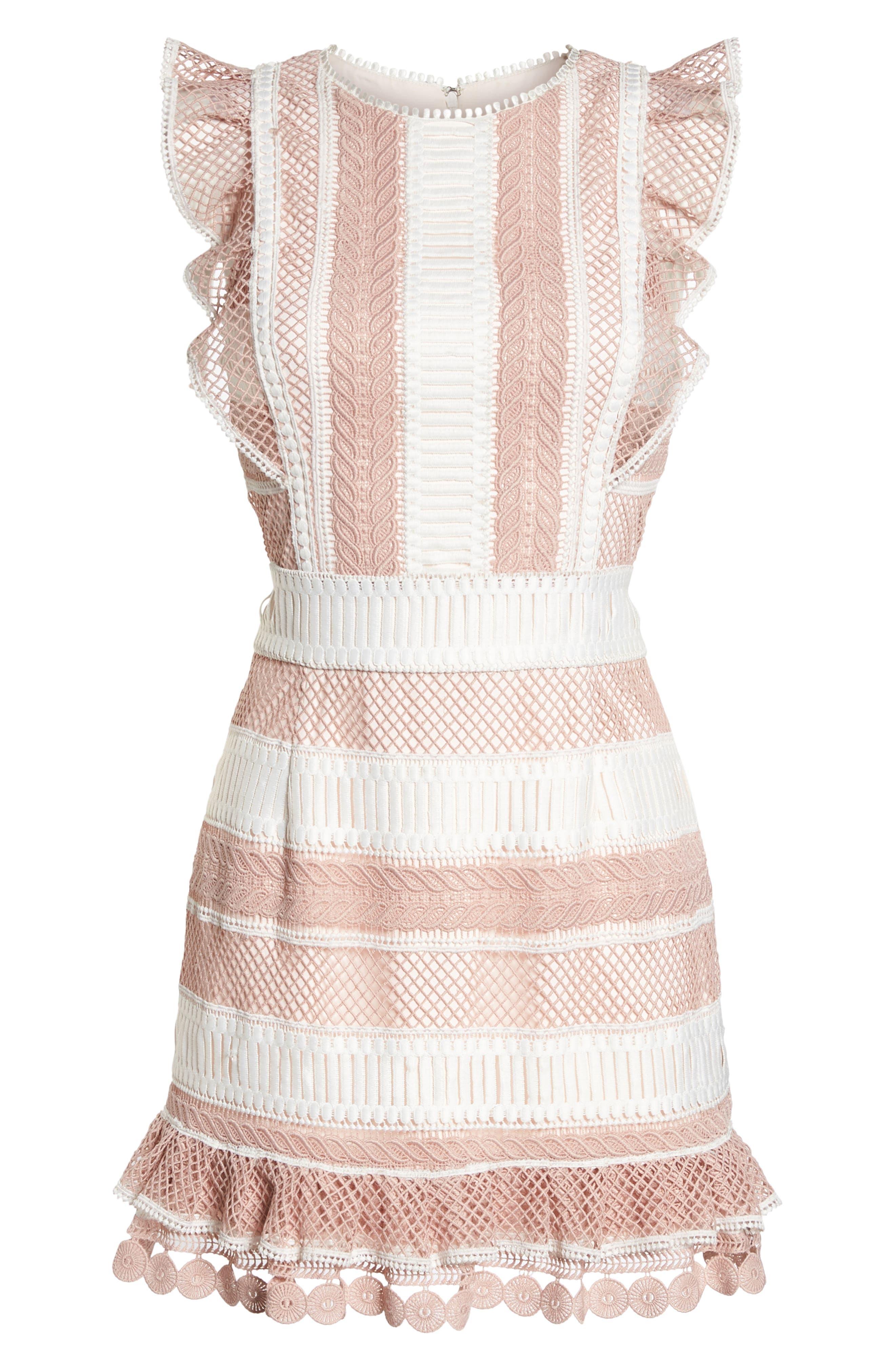 Kingston Stripe Lace Sheath Dress,                             Alternate thumbnail 6, color,                             661