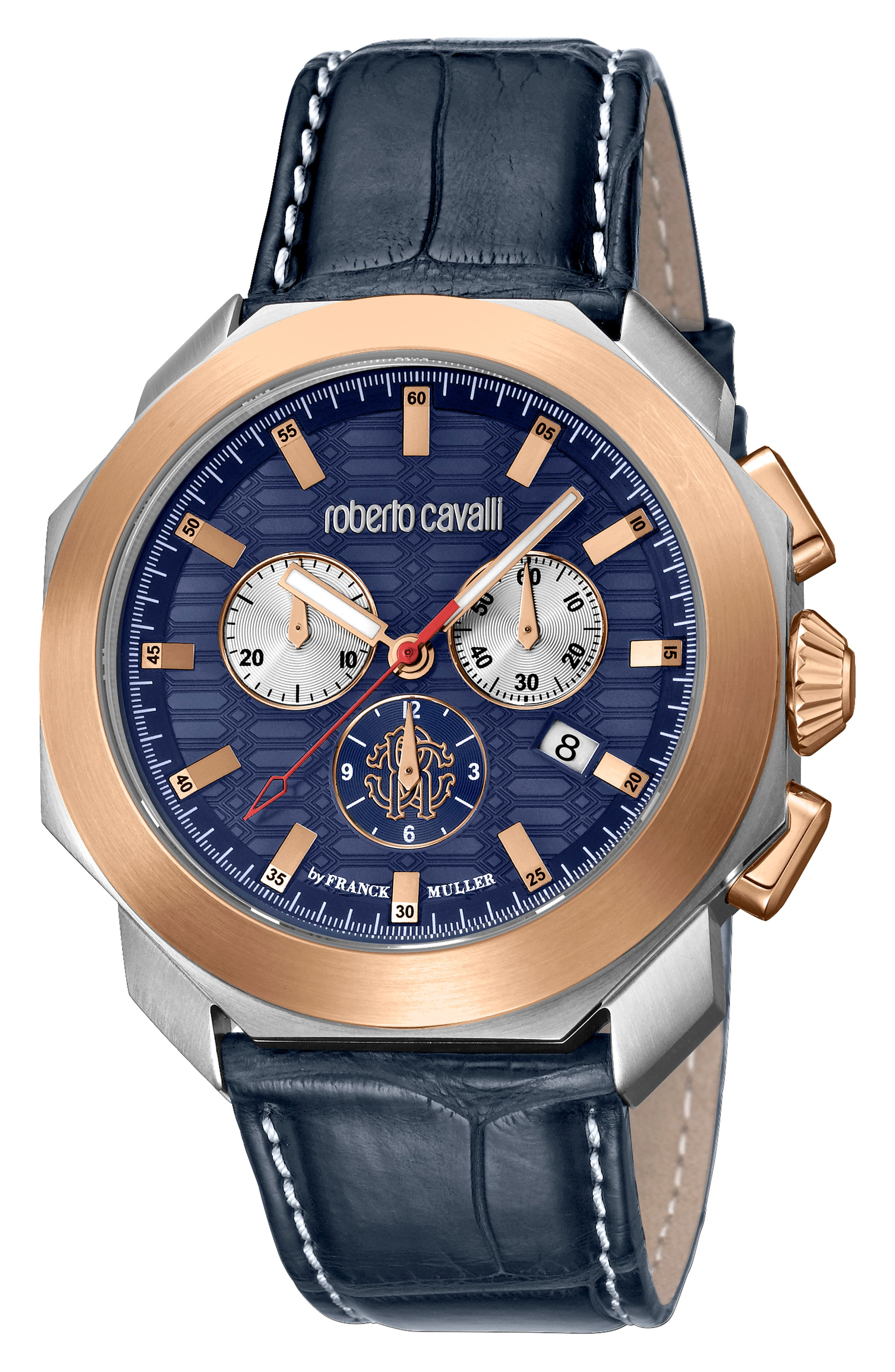 Sport Chronograph Leather Strap Watch,                         Main,                         color, BLUE/ SILVER/ BLUE