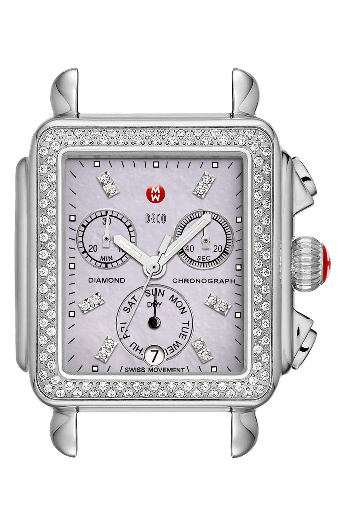 Deco Diamond Dial Gold Plated Watch Case, 33mm x 35mm,                             Main thumbnail 6, color,