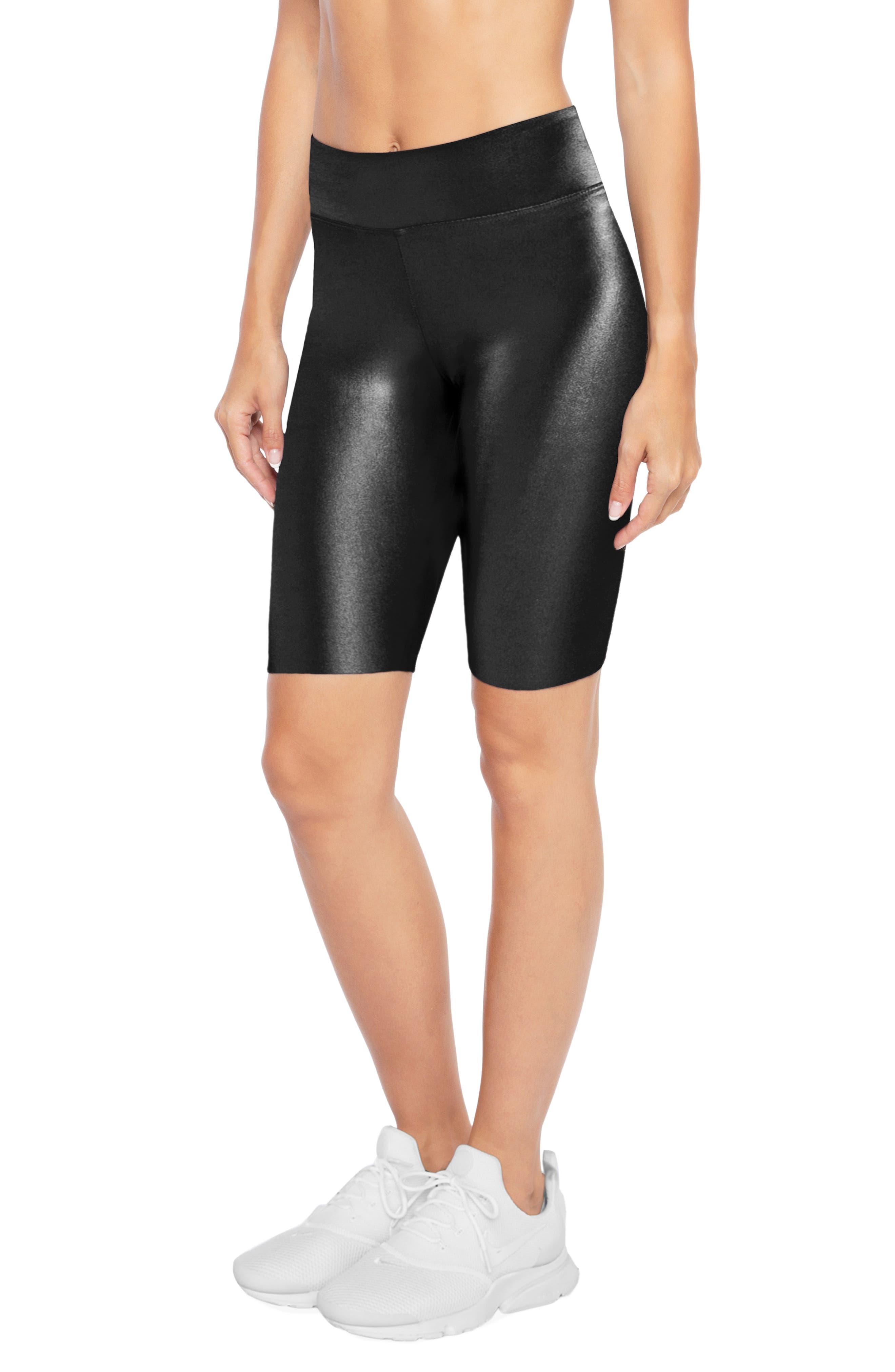 Densonic High Waist Bike Shorts,                             Alternate thumbnail 3, color,                             BLACK