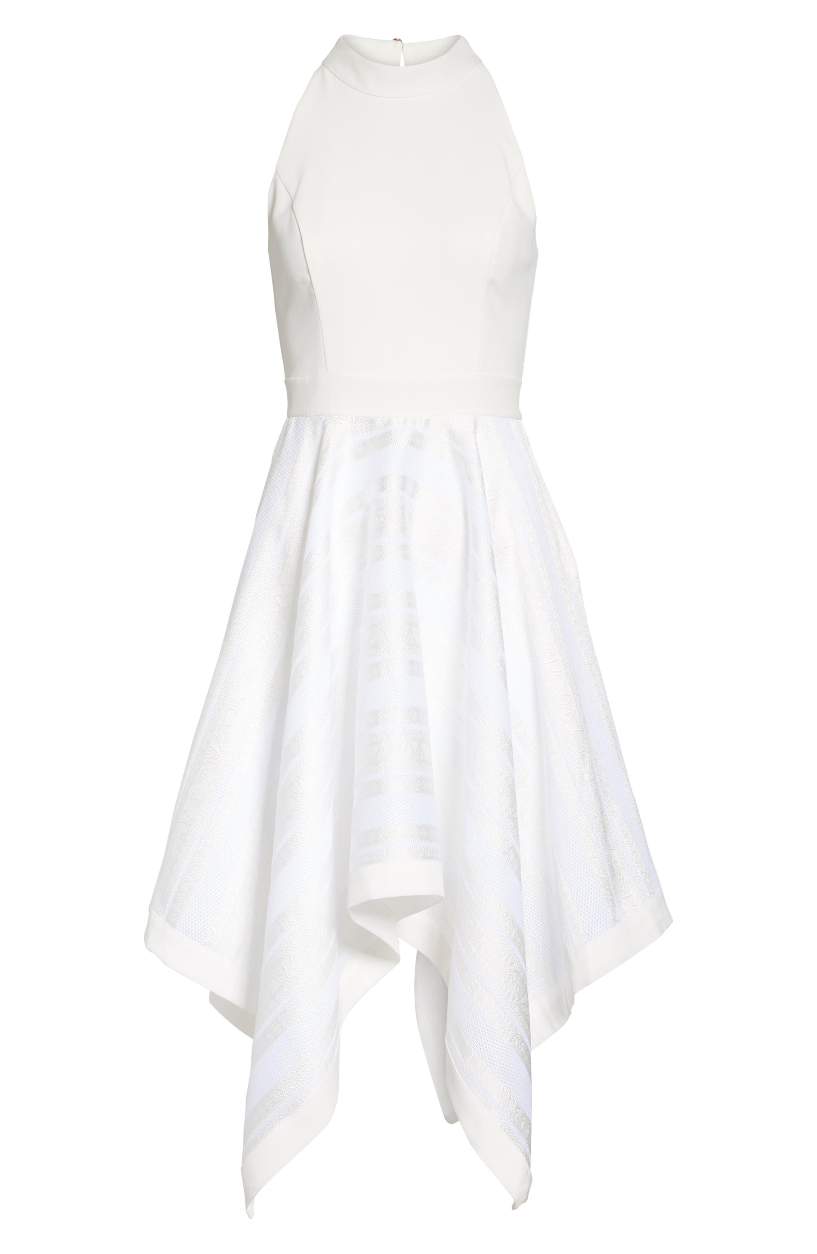 Draped Fit & Flare Dress,                             Alternate thumbnail 6, color,                             110
