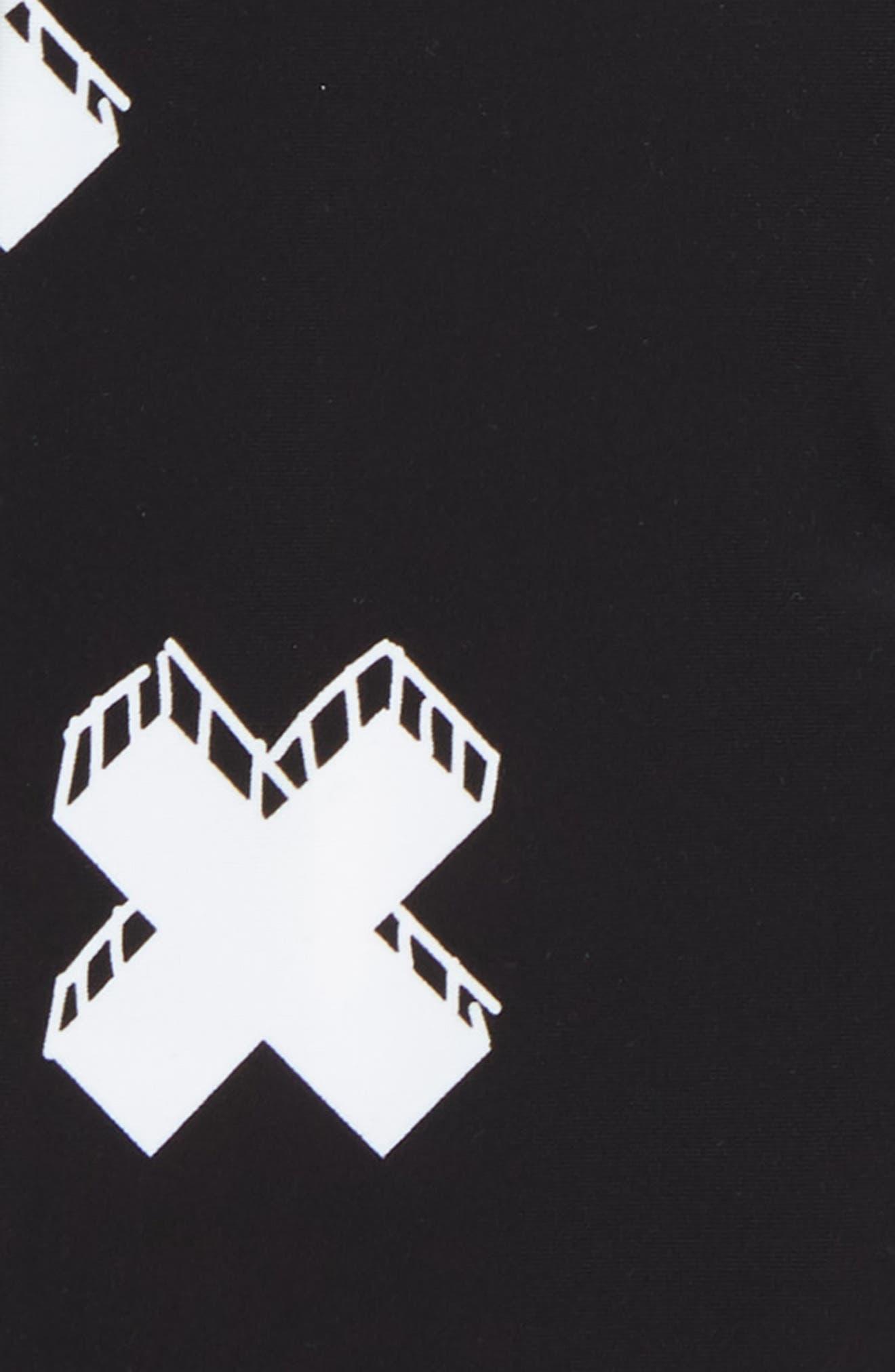 Cross One-Piece Rashguard Swimsuit,                             Alternate thumbnail 2, color,                             WHITE/ BLACK