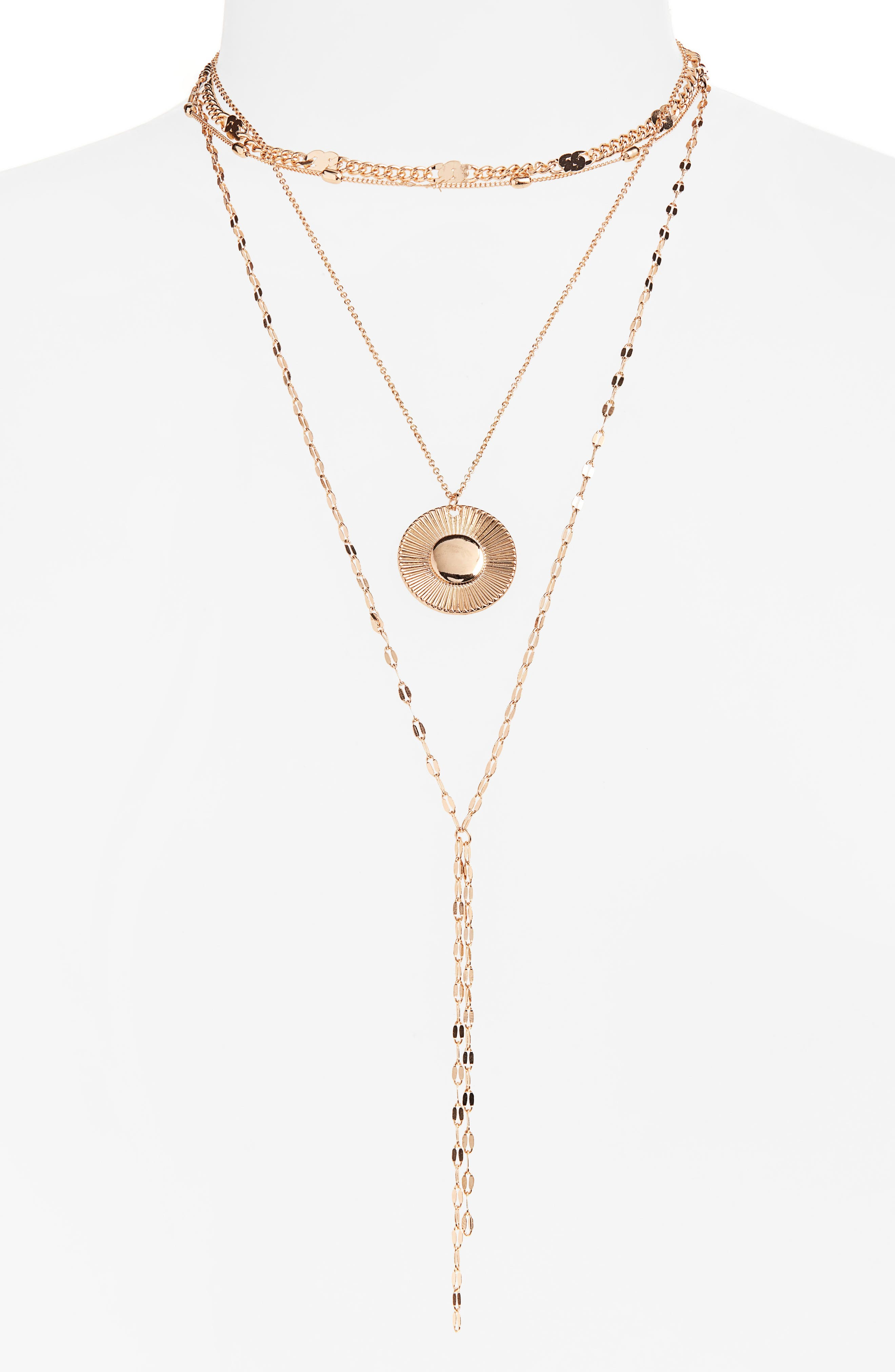 Layered Disc Necklace,                         Main,                         color, 710
