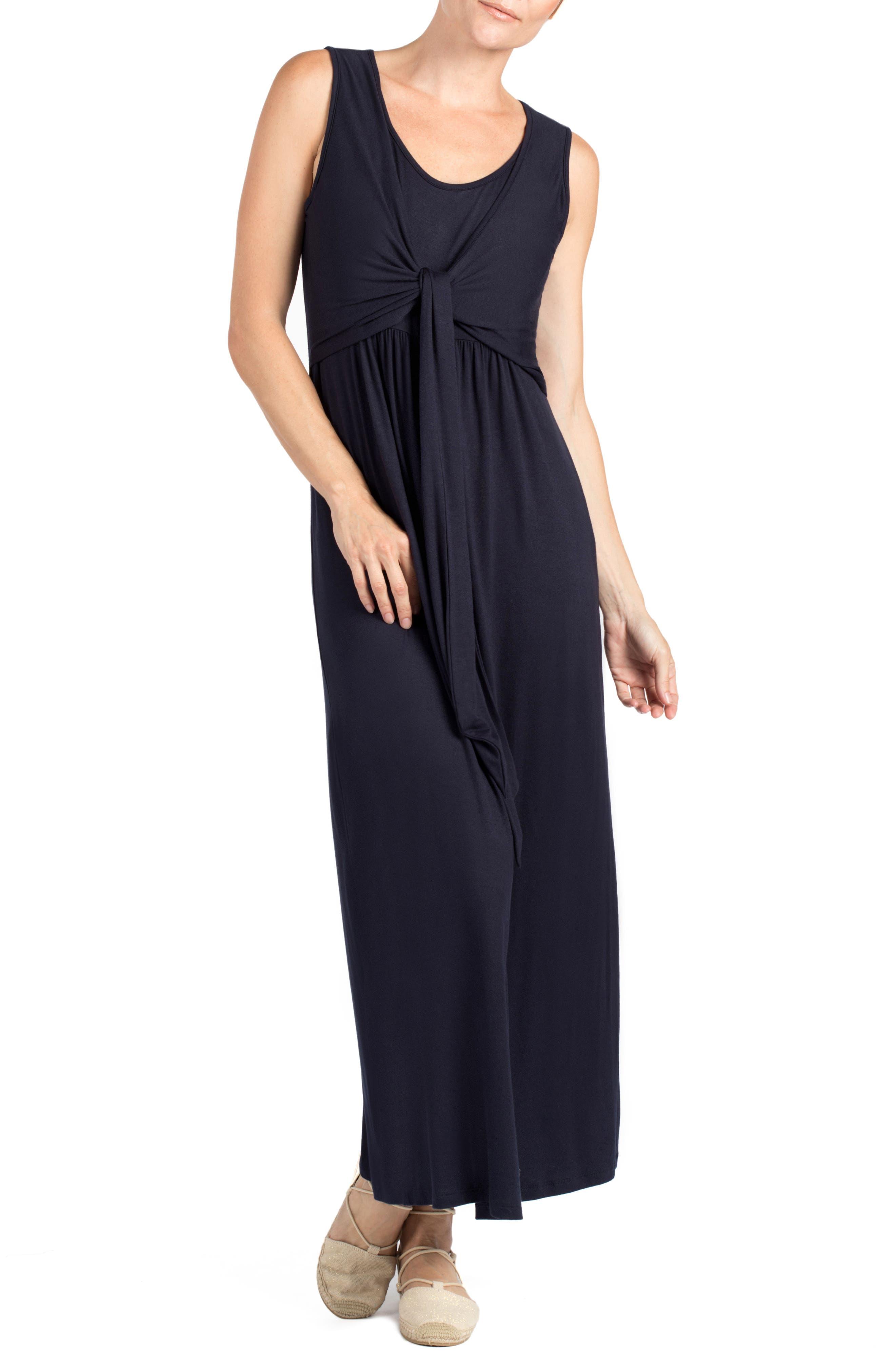 Modesto Maternity/Nursing Maxi Dress,                         Main,                         color, NAVY