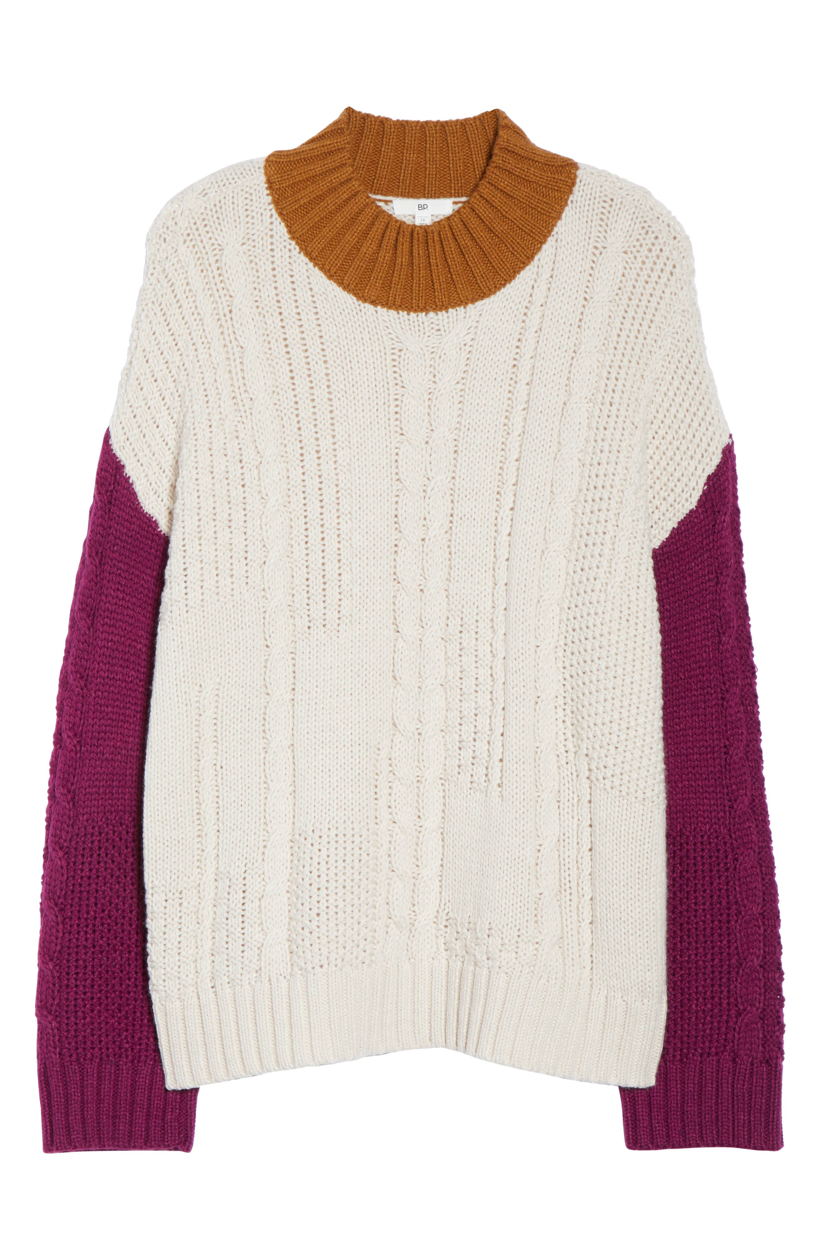 Colorblock Cable Knit Pullover,                             Alternate thumbnail 11, color,                             270