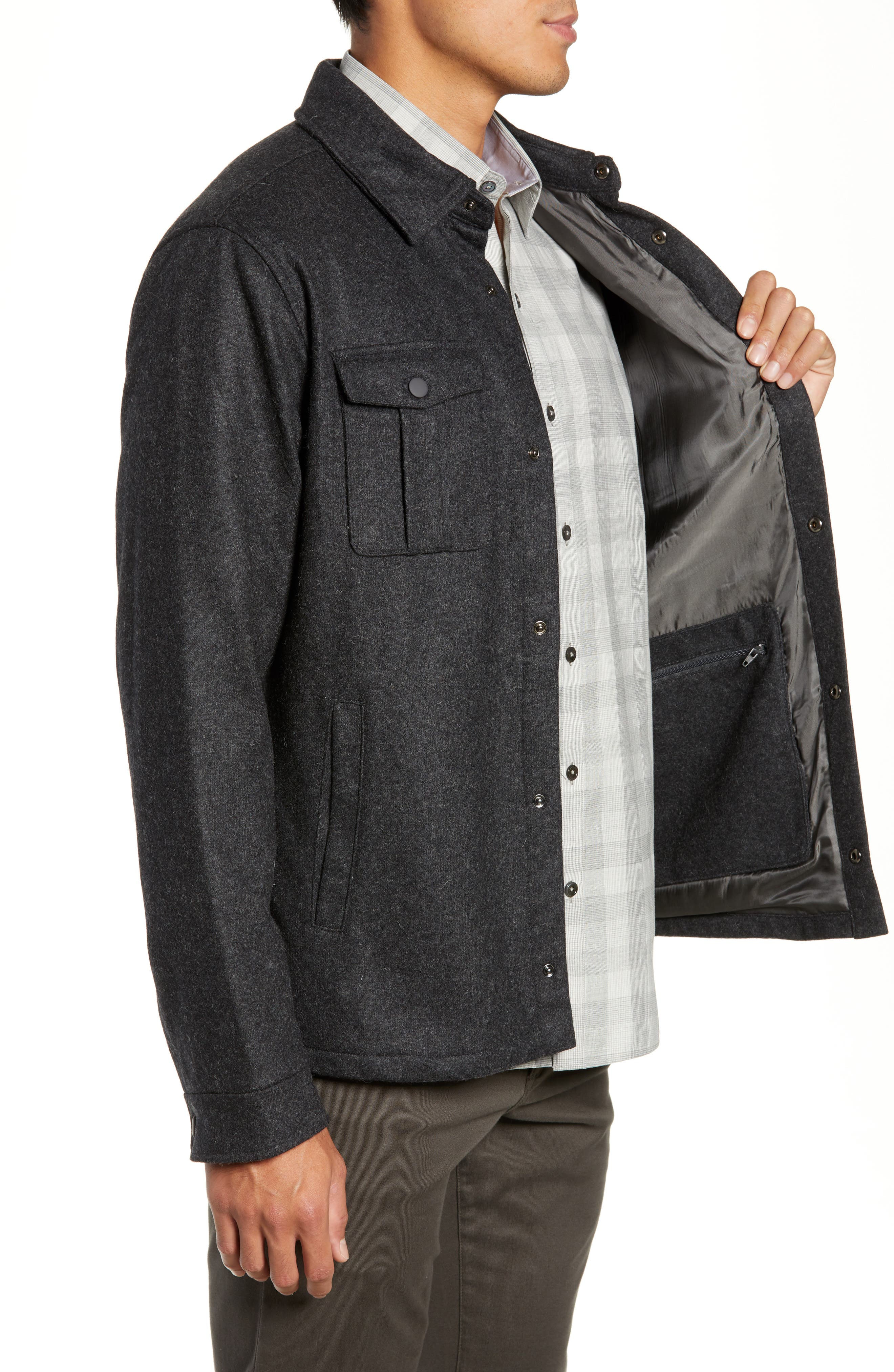 Seymour Regular Fit Wool Blend Shirt Jacket,                             Alternate thumbnail 3, color,                             DARK GREY