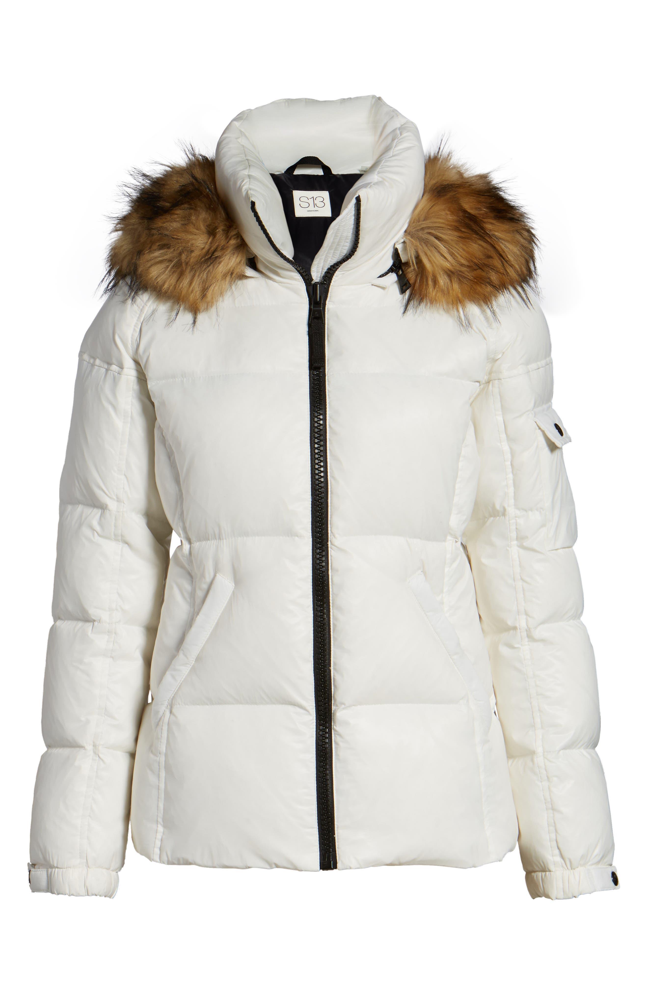 Kylie Faux Fur Trim Gloss Puffer Jacket,                             Alternate thumbnail 30, color,