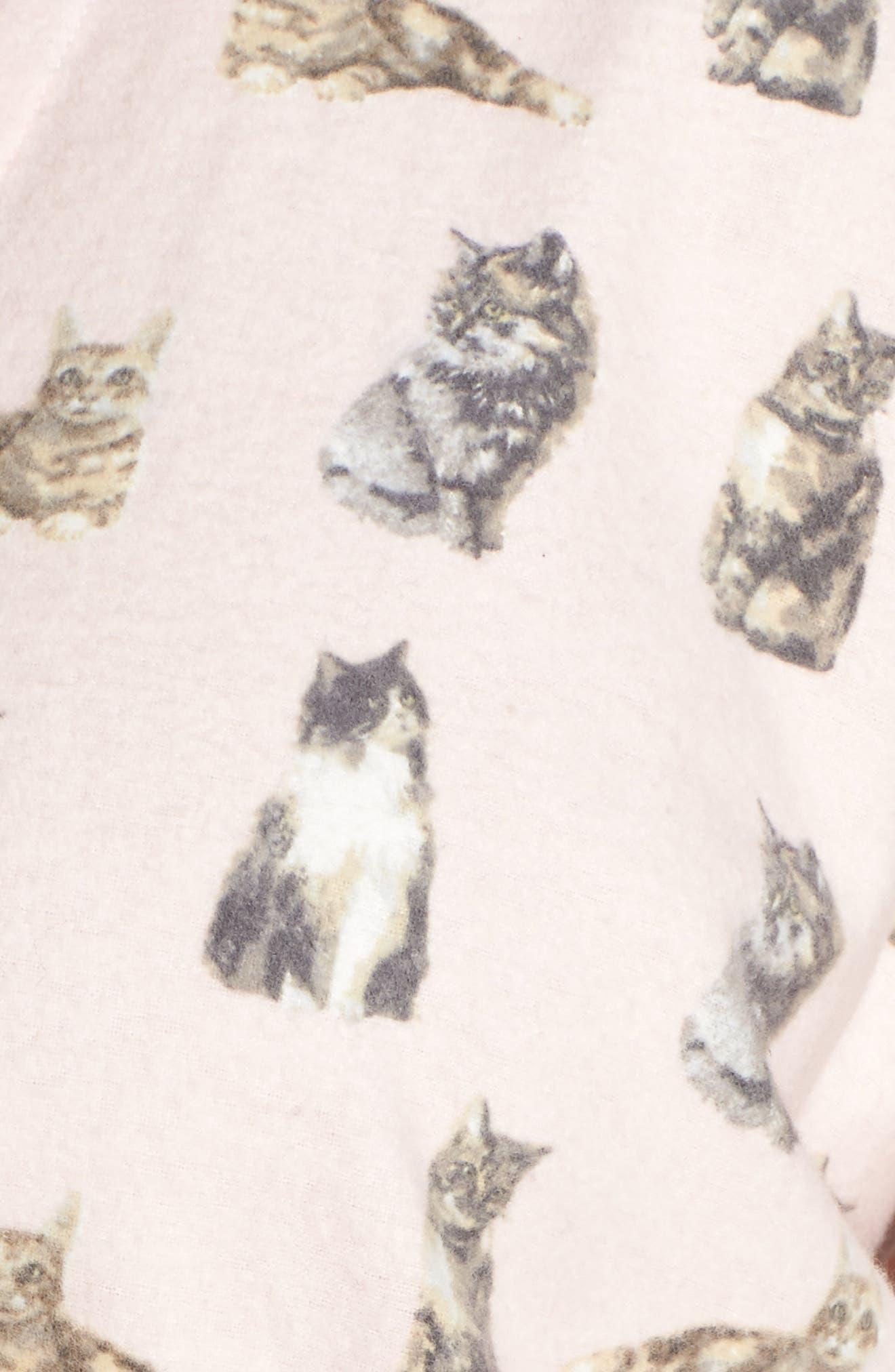 PJ SALVAGE,                             Print Flannel Pajamas,                             Alternate thumbnail 5, color,                             650