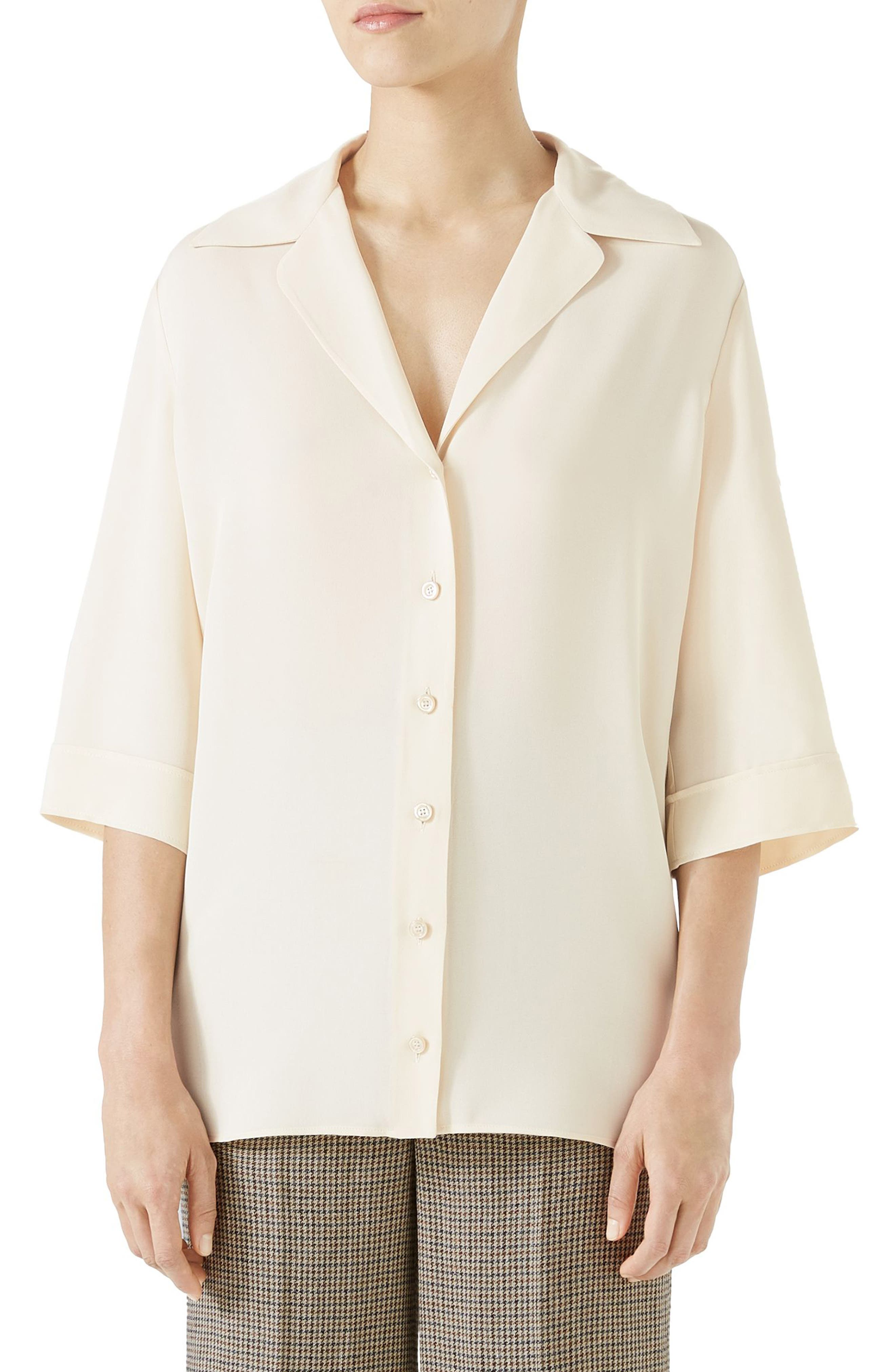 Hypnotism Button-Up Top,                         Main,                         color, IVORY