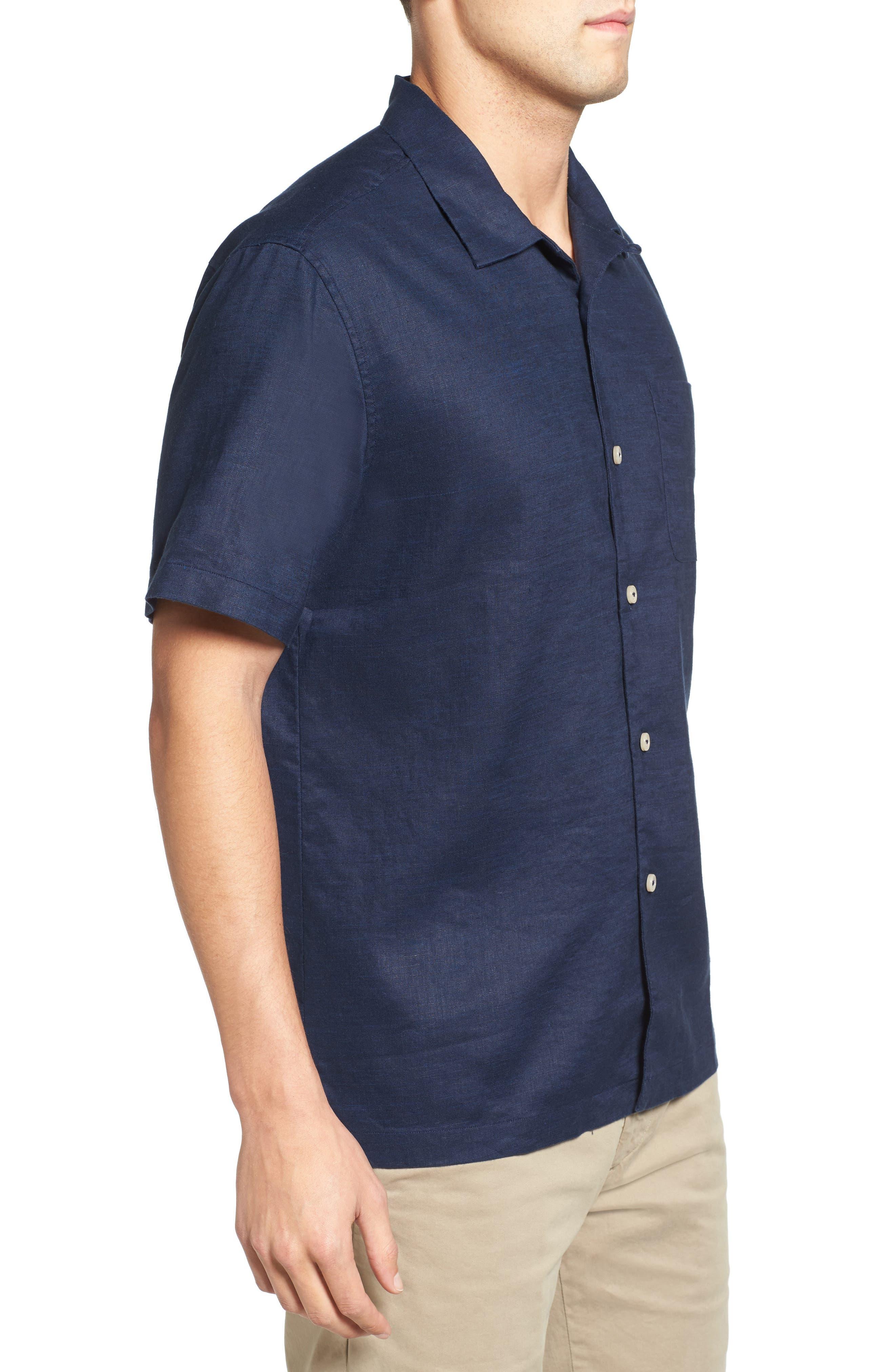 Monaco Tides Standard Fit Linen Blend Camp Shirt,                             Alternate thumbnail 17, color,