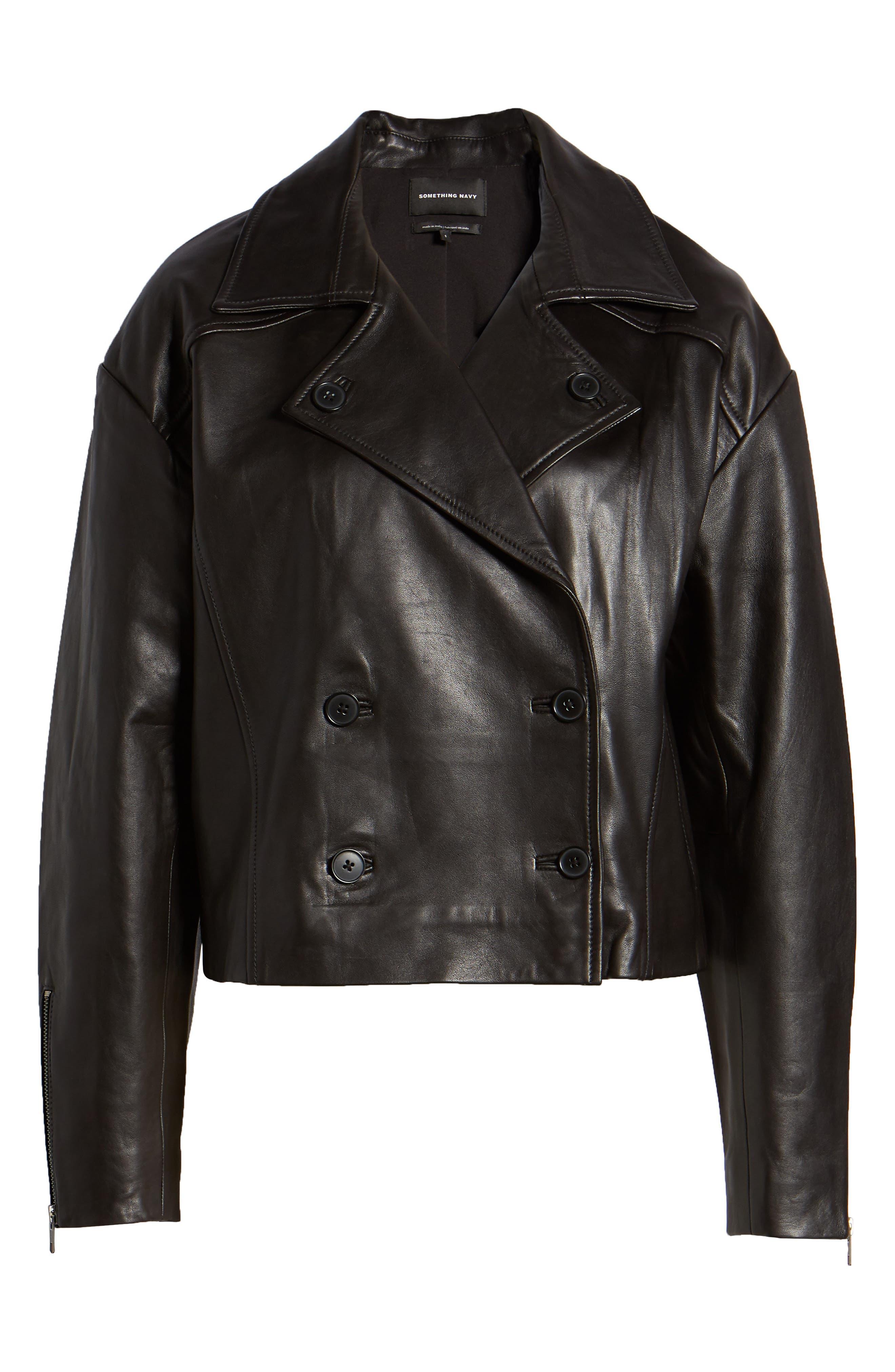 Shrunken Leather Jacket,                             Alternate thumbnail 6, color,                             BLACK