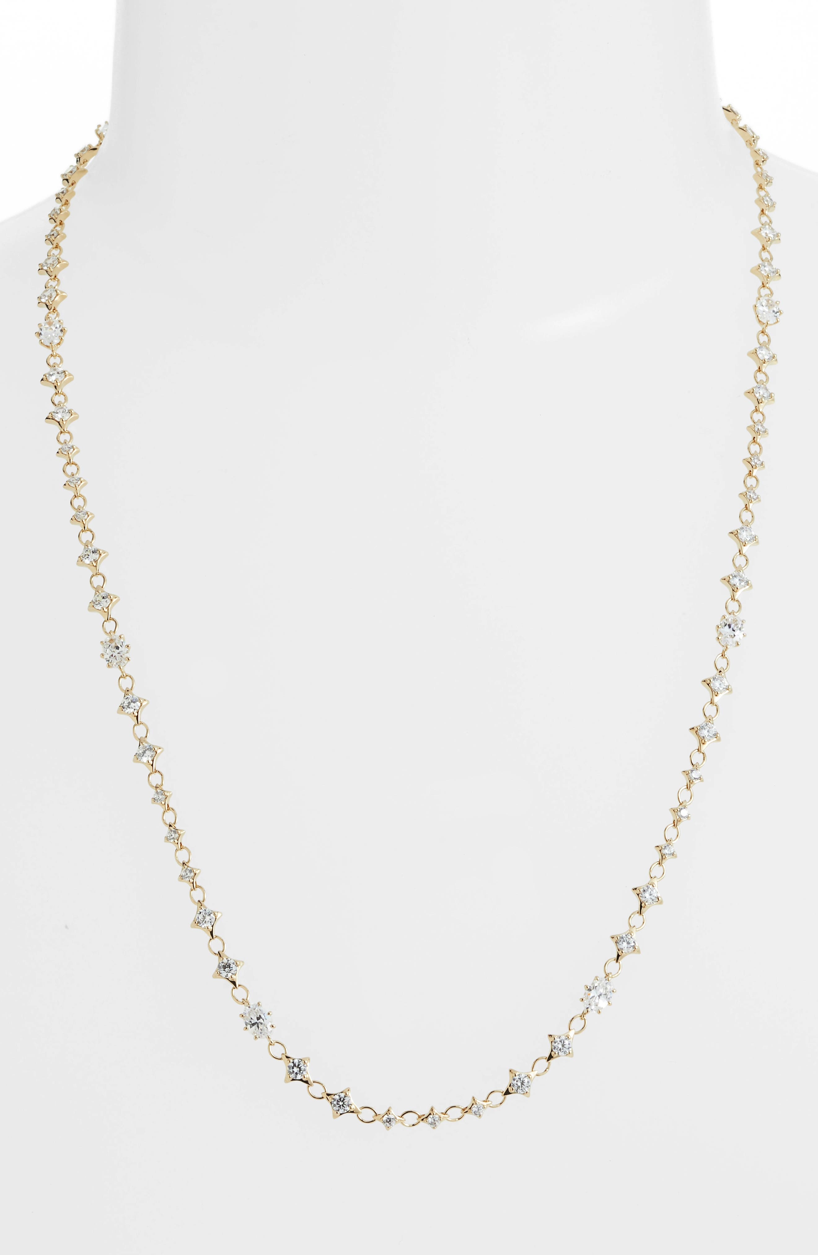 Boho Cubic Zirconia Necklace,                             Main thumbnail 1, color,                             GOLD/ CLEAR