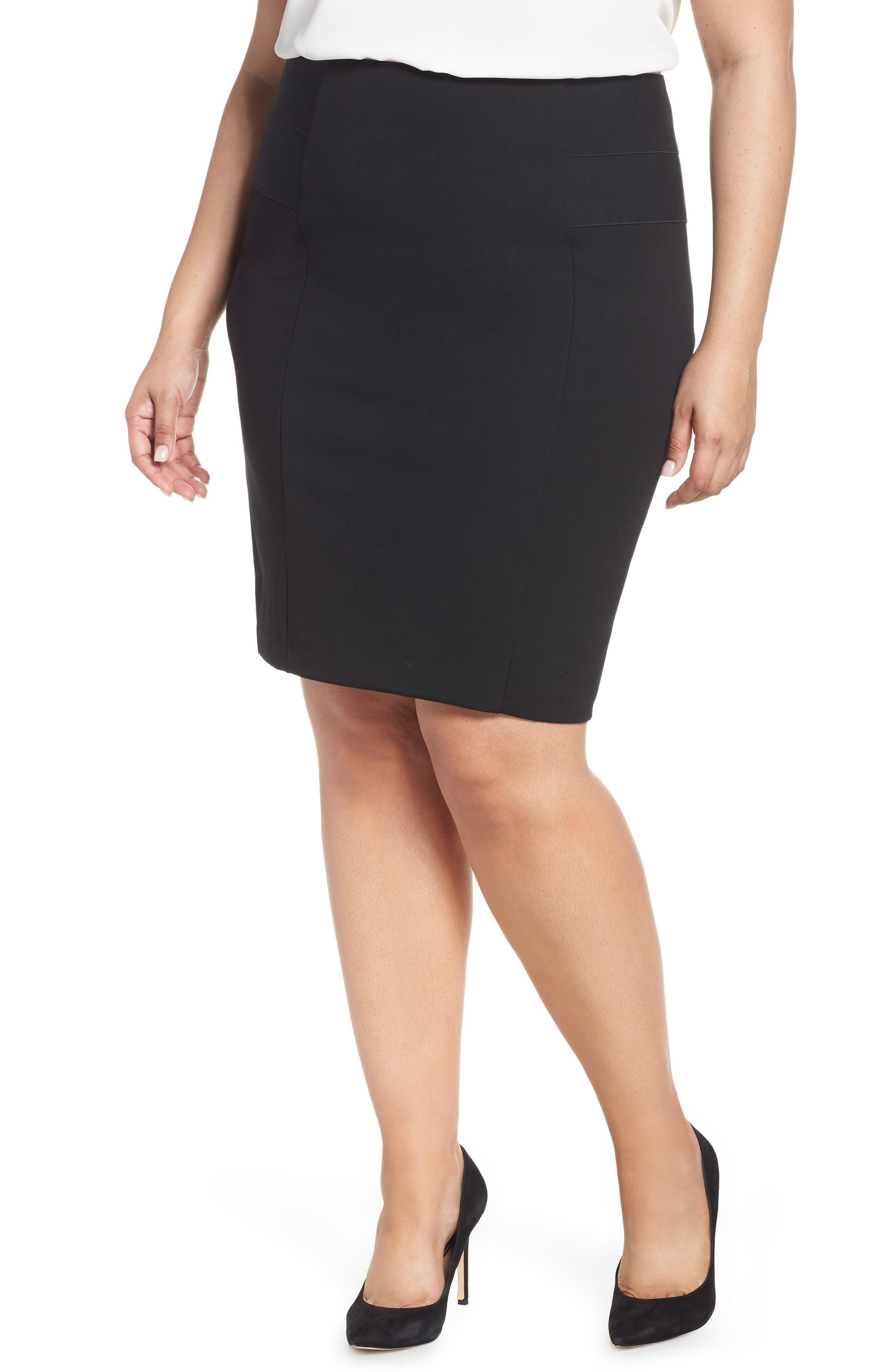 Plus Size Lemon Tart Autumn Pencil Skirt, Black