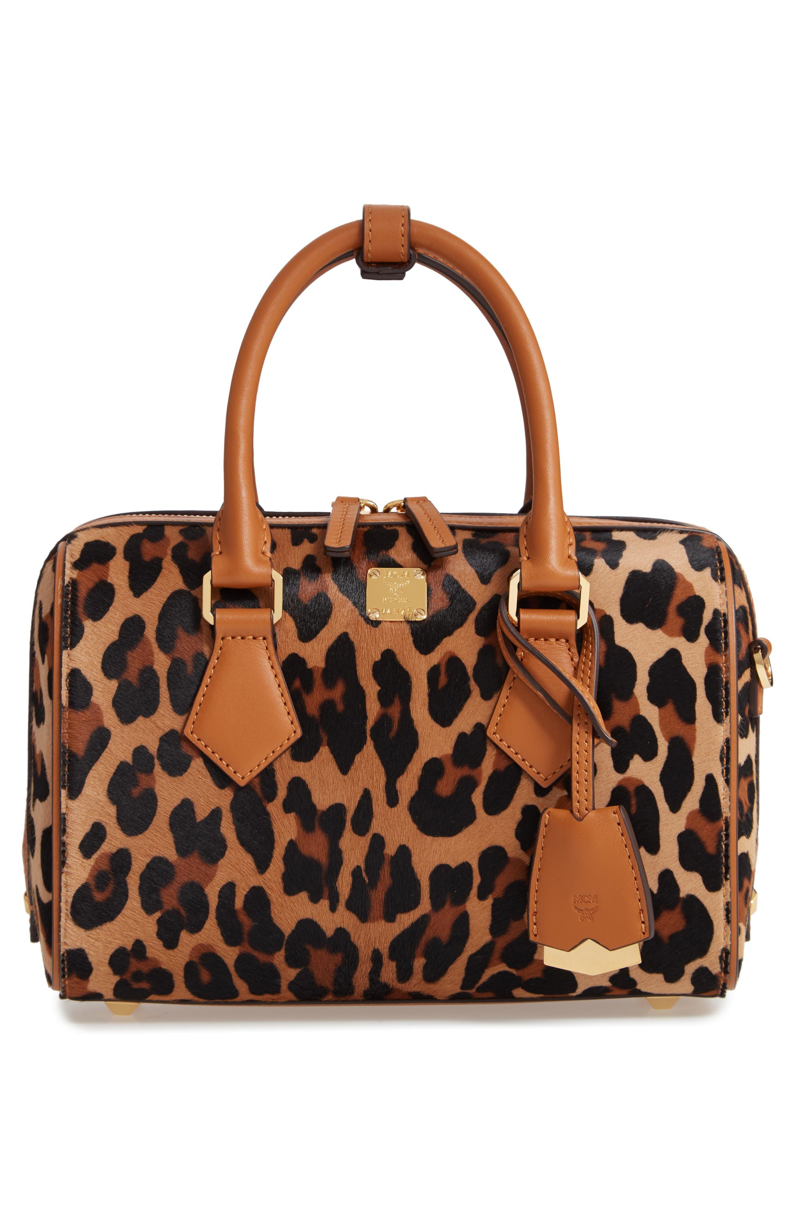 MCM Small Boston Leopard Calf Hair Bowler Bag, Main, color, LEOPARD