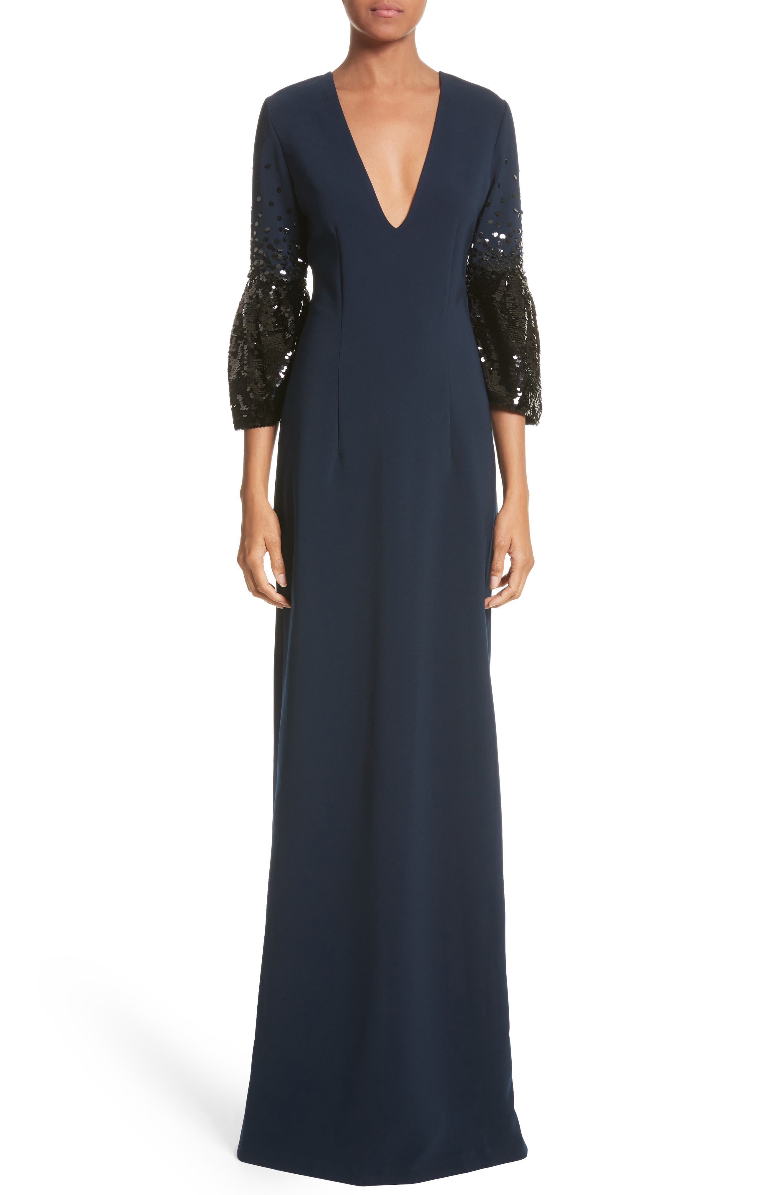 Noir Tower Embellished Sleeve Gown,                             Main thumbnail 1, color,                             410