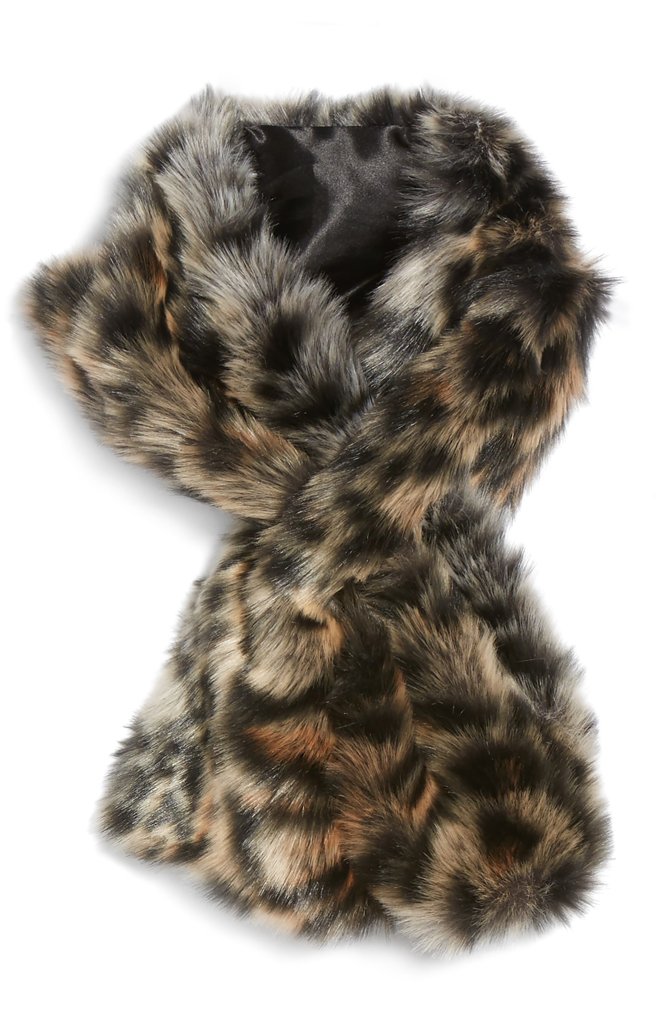 Leopard Faux Fur Stole,                             Alternate thumbnail 2, color,                             BROWN COMBO