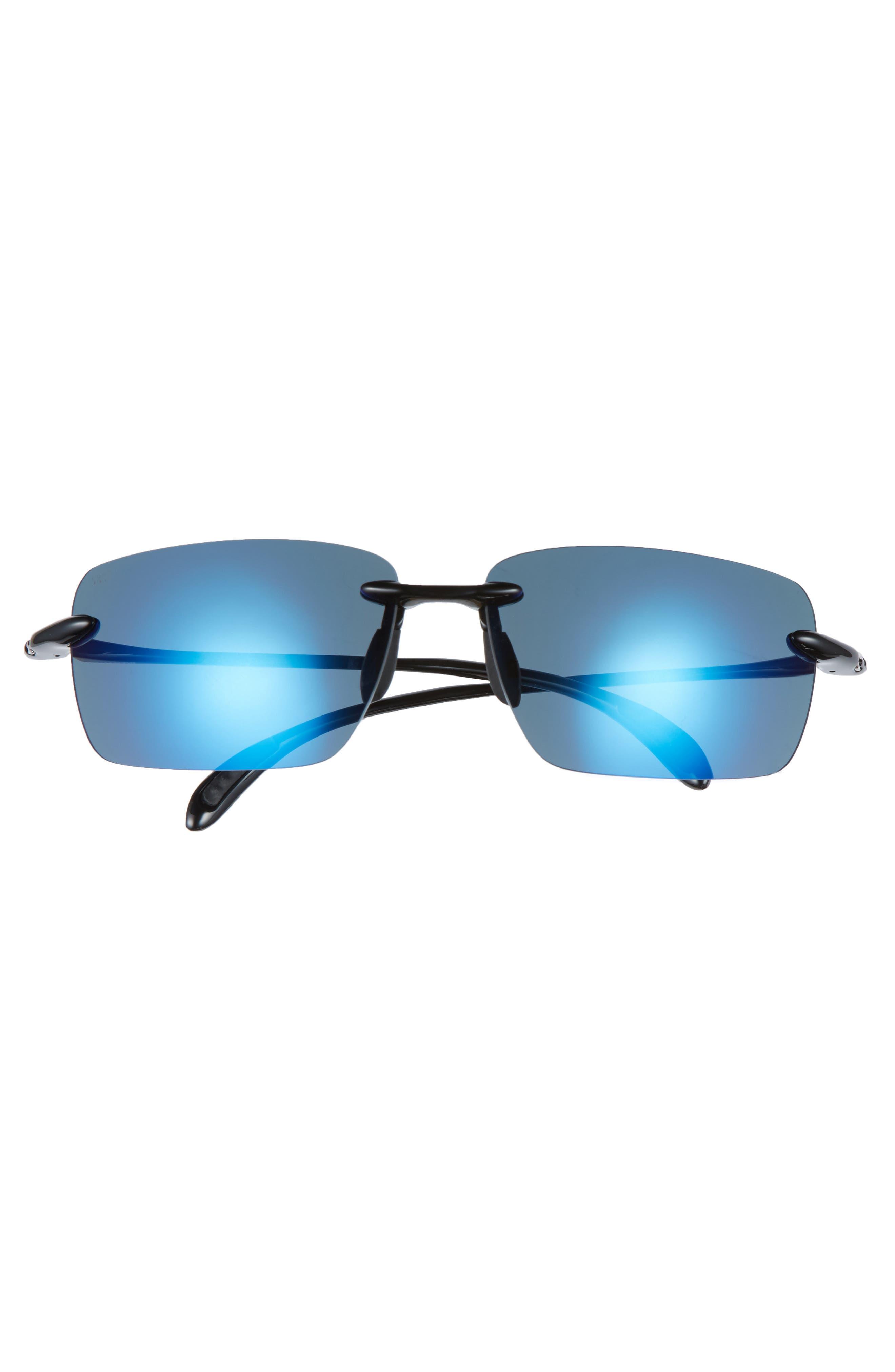 Gulfshore XL 66mm Polarized Sunglasses,                             Alternate thumbnail 2, color,                             BLACK/ BLUE MIRROR