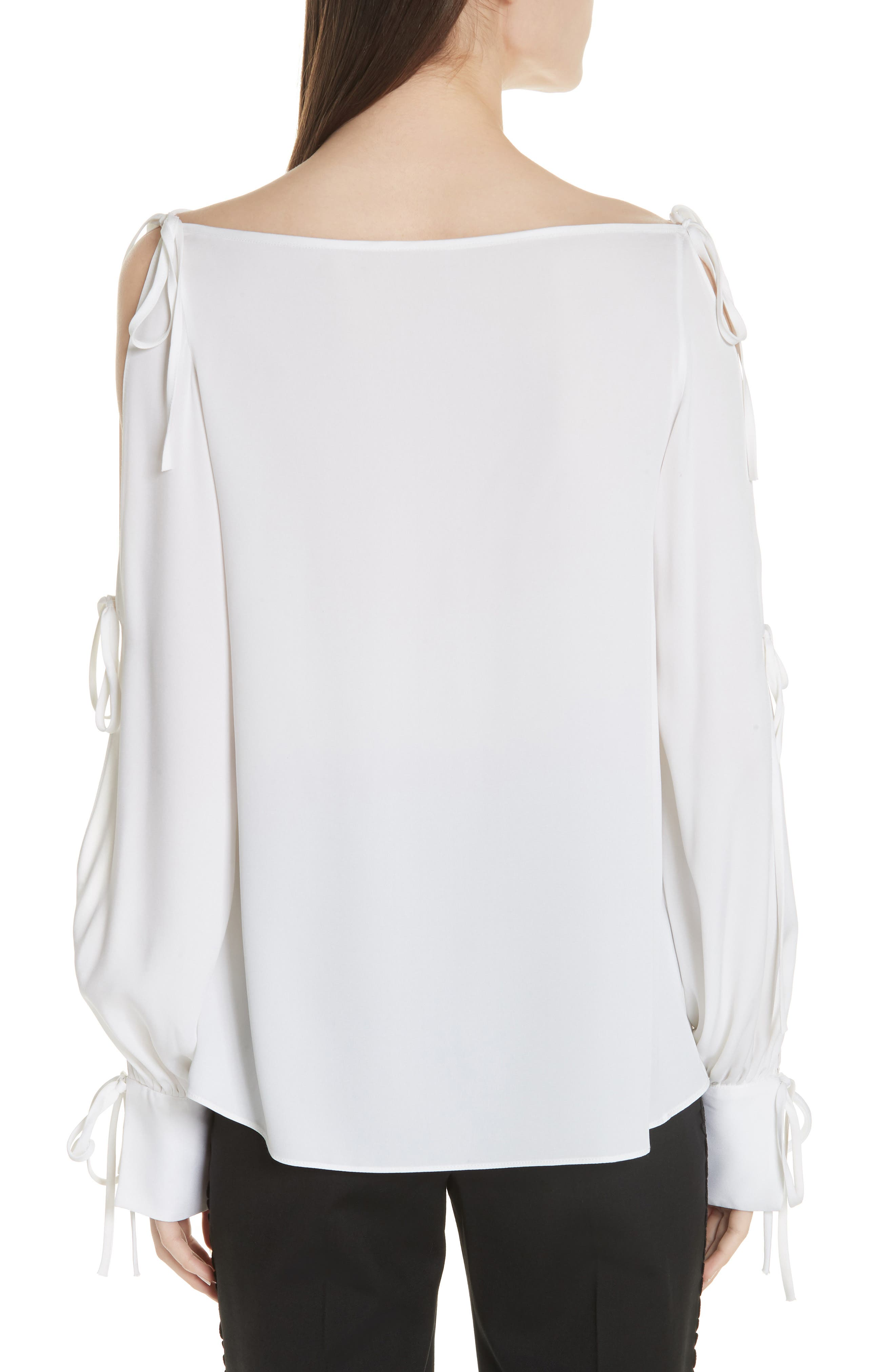 Connie Stretch Cold Shoulder Silk Top,                             Alternate thumbnail 2, color,                             WHITE