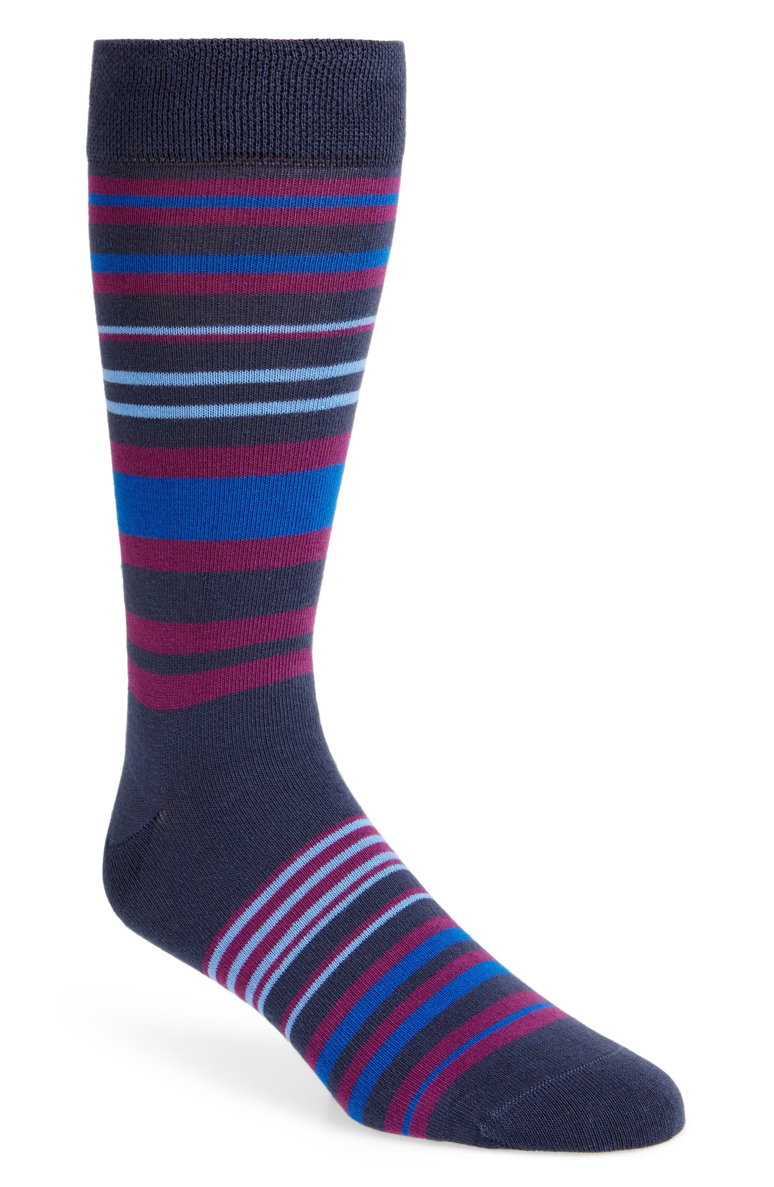 Sisma Stripe Socks,                         Main,                         color, NAVY
