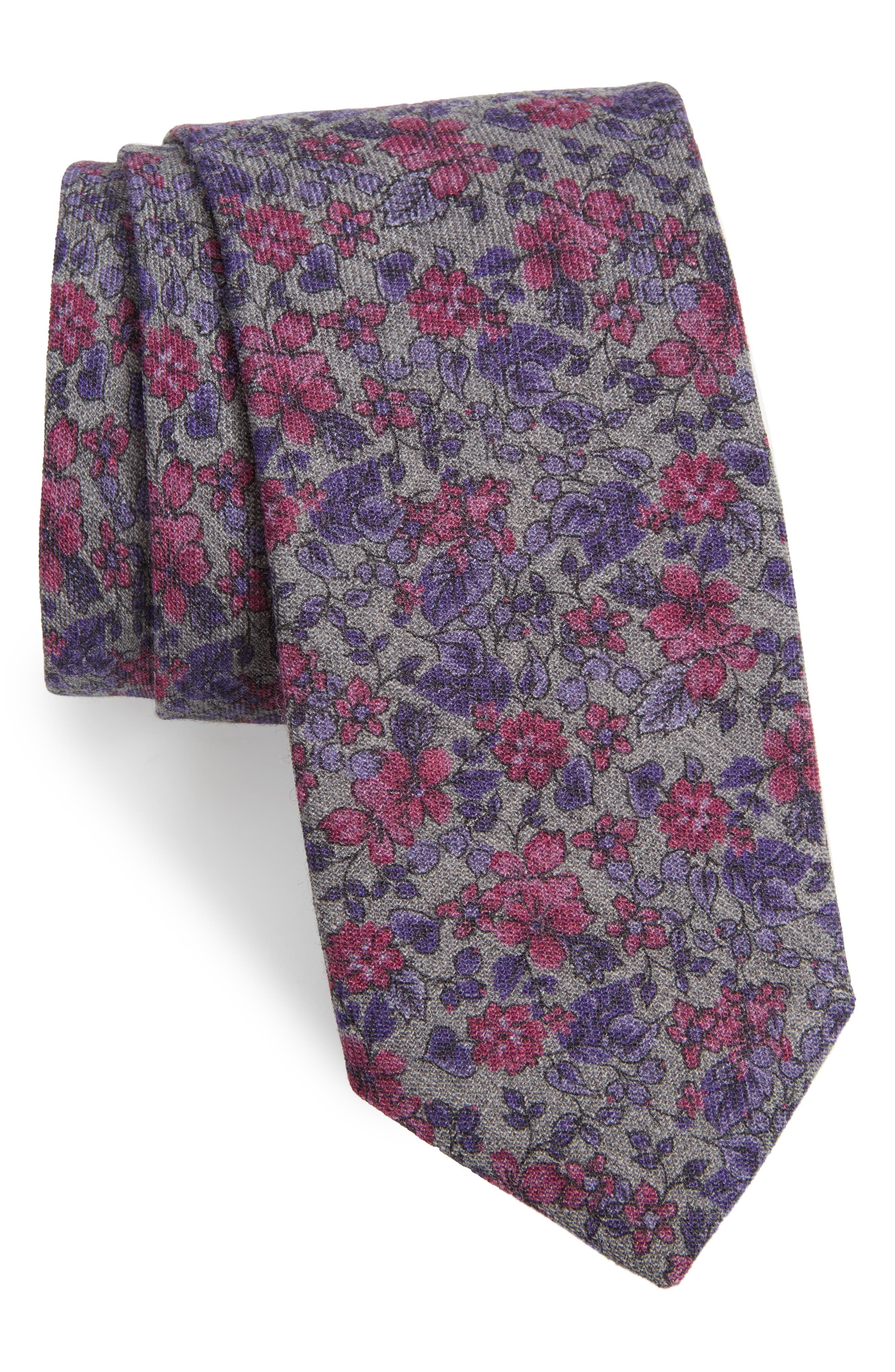 Vine Flower Wool Tie,                         Main,                         color, 020