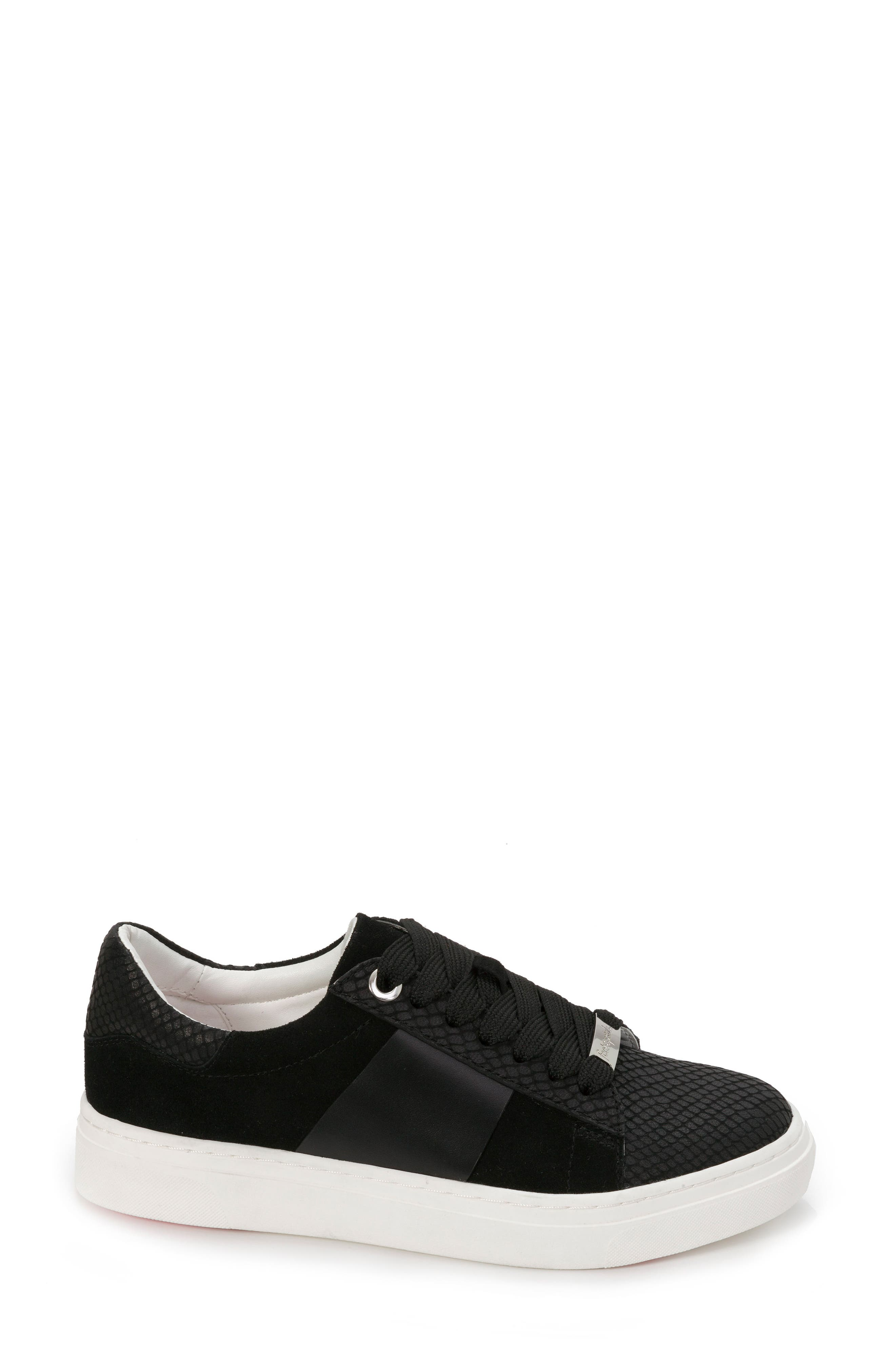 Fallon Sneaker,                             Alternate thumbnail 3, color,                             BLACK SUEDE