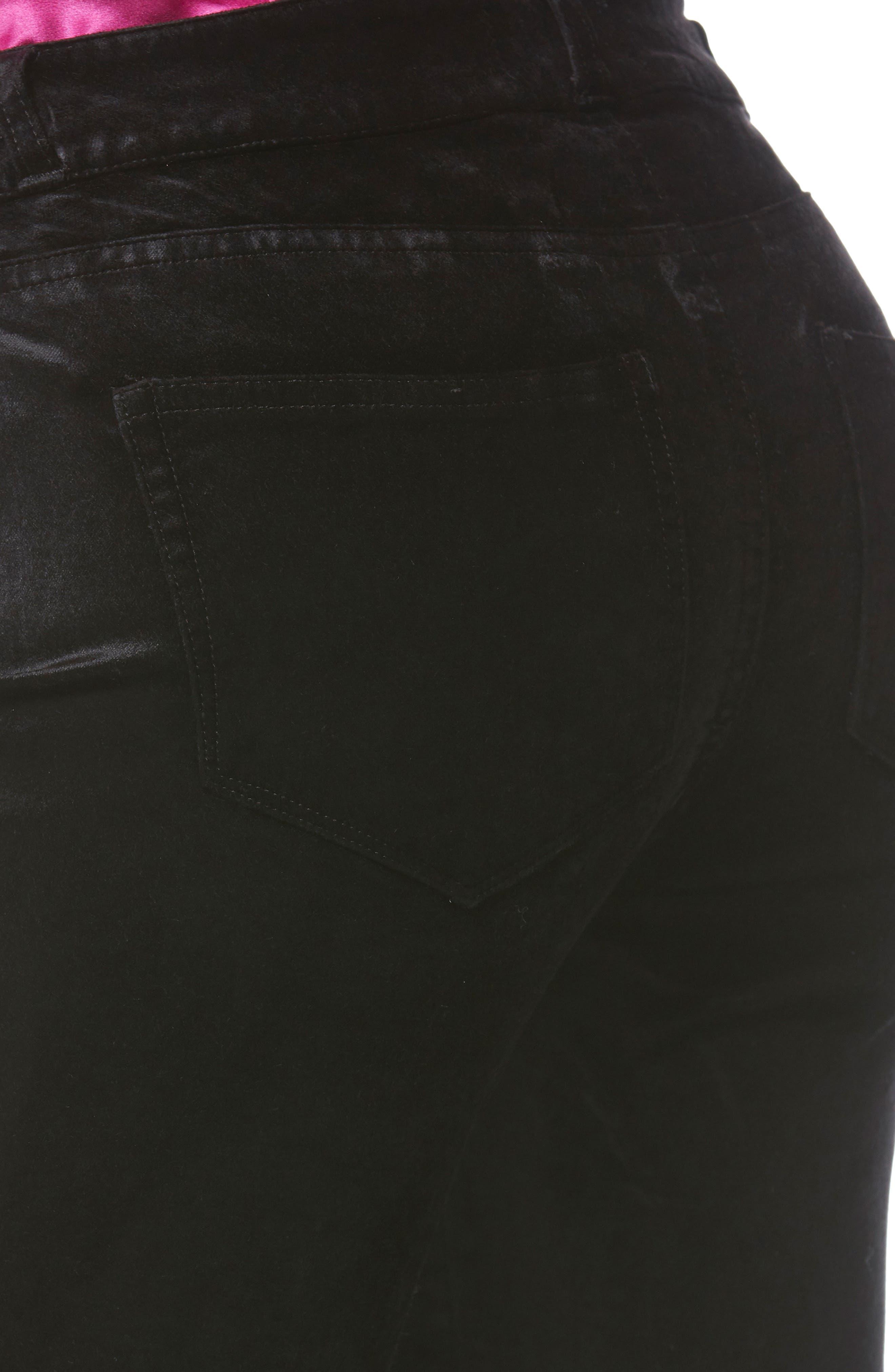 Verdugo Ultra Skinny Velvet Pants,                             Alternate thumbnail 4, color,                             001
