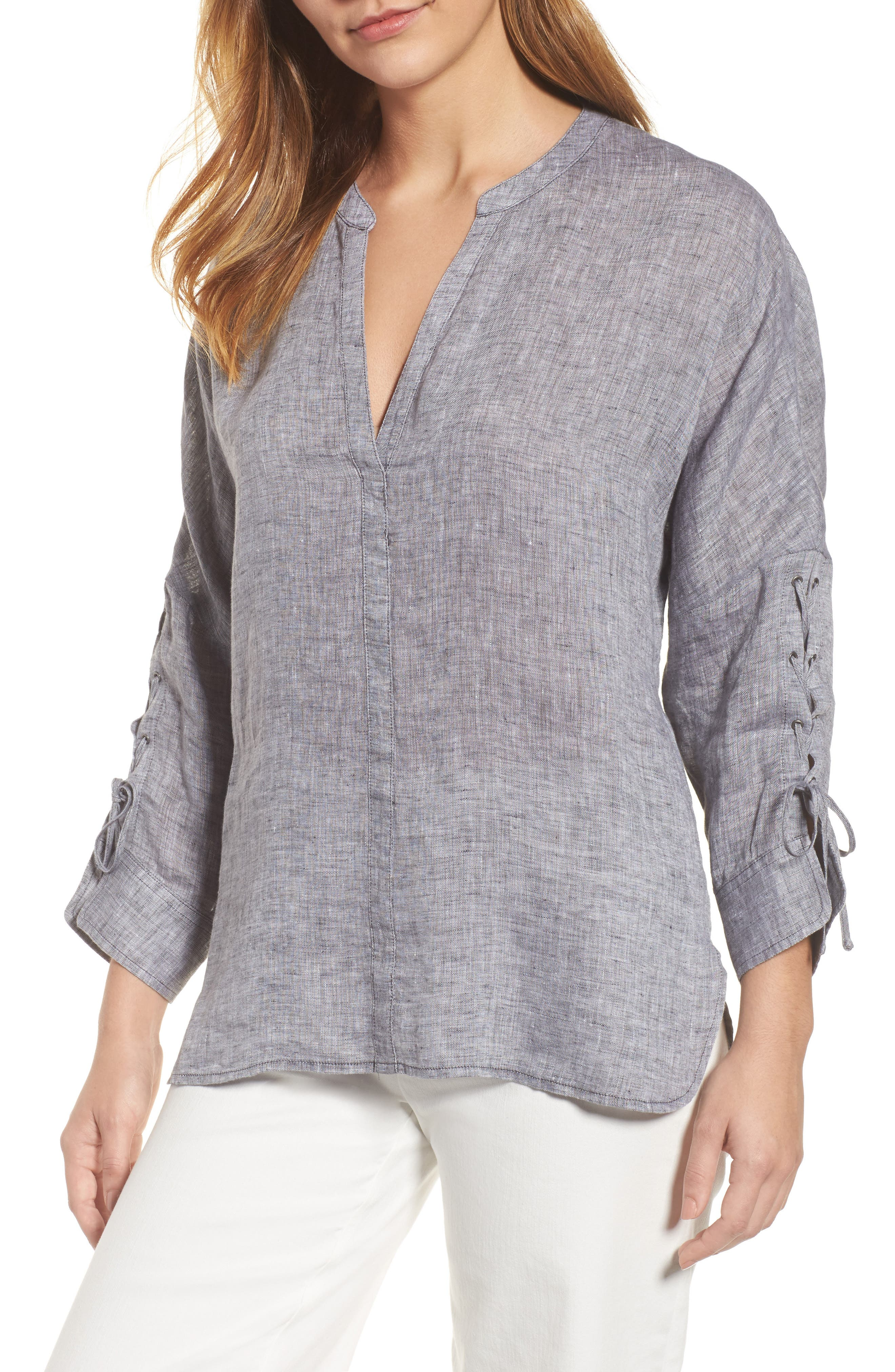 NIC + ZOE Cliff View Linen Top,                         Main,                         color,