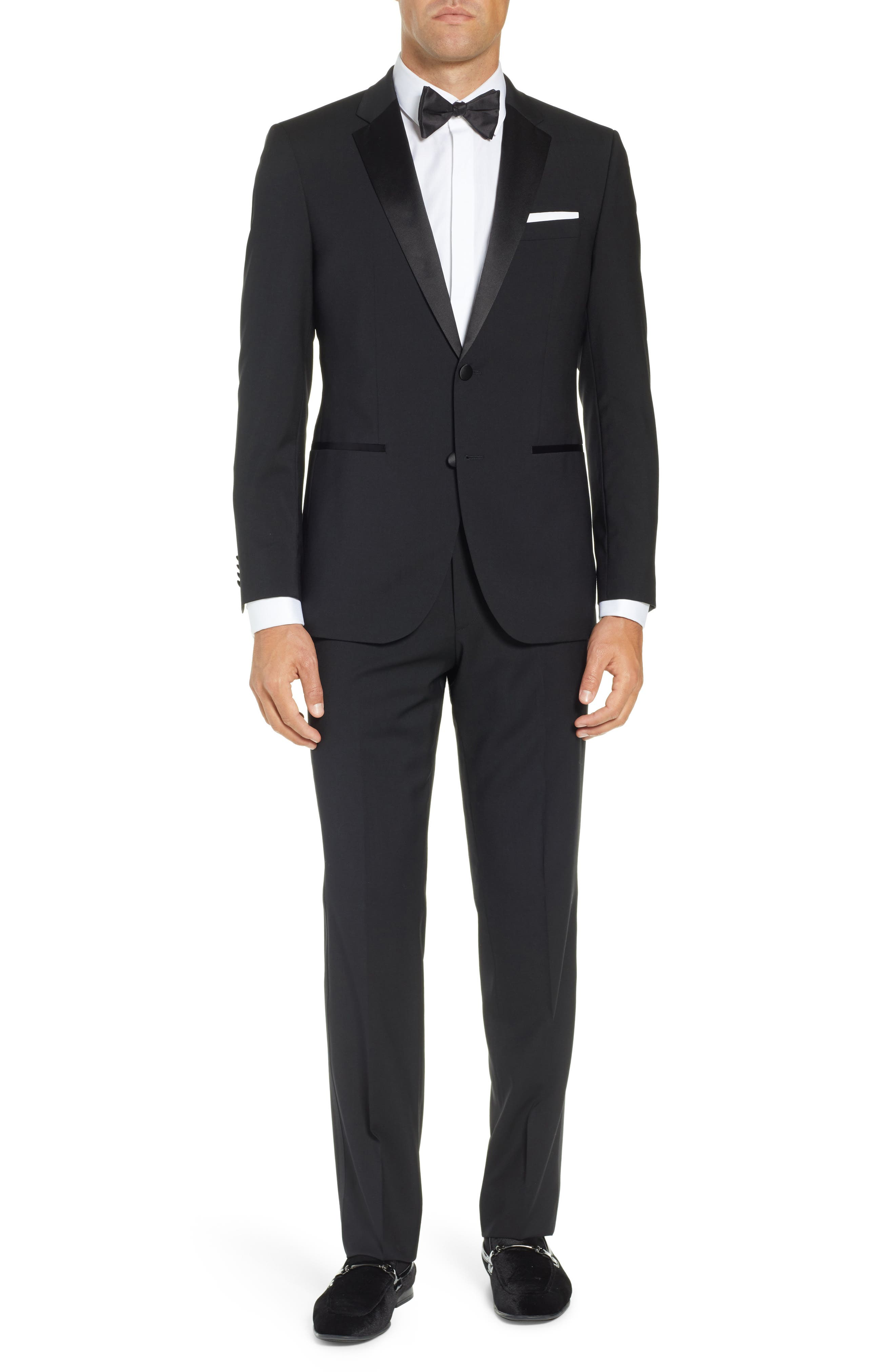 BOSS,                             The Stars/Glamour Trim Fit Wool Tuxedo,                             Main thumbnail 1, color,                             001