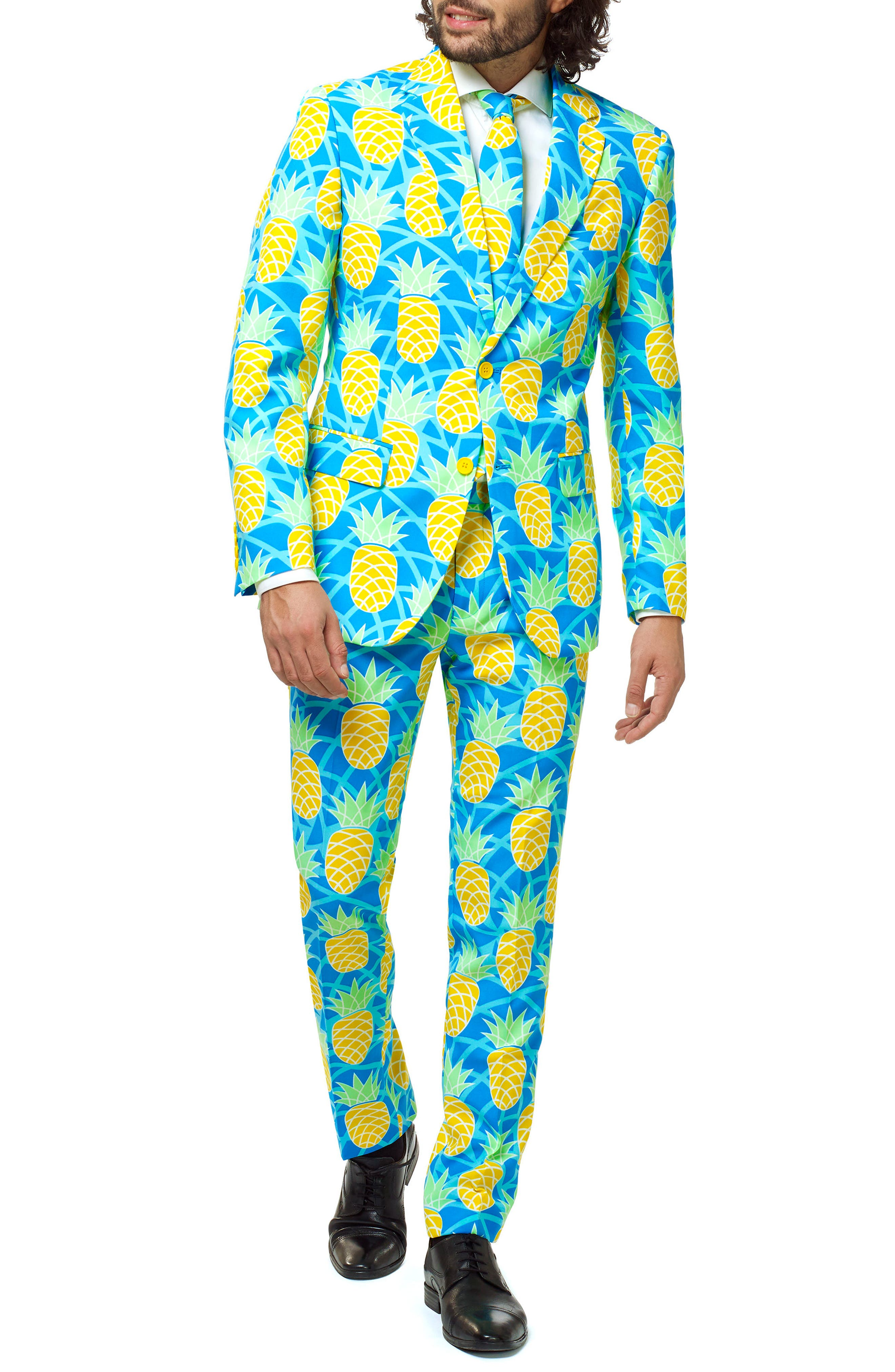 Summer Shineapple Trim Fit Two-Piece Suit with Tie,                         Main,                         color, 400