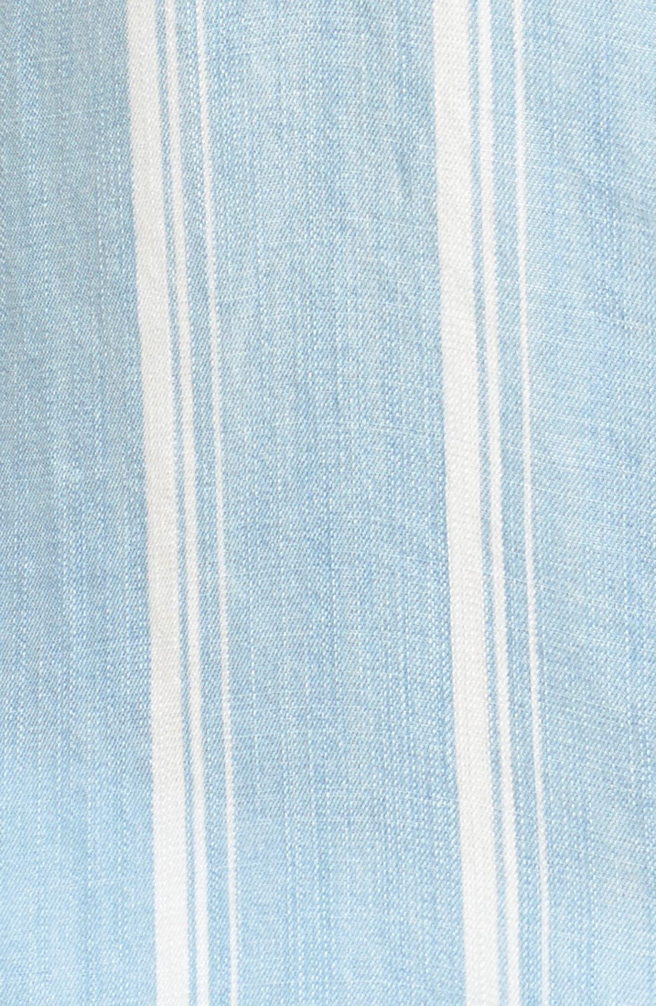 Cutout High/Low Chambray Shirt,                             Alternate thumbnail 5, color,                             400