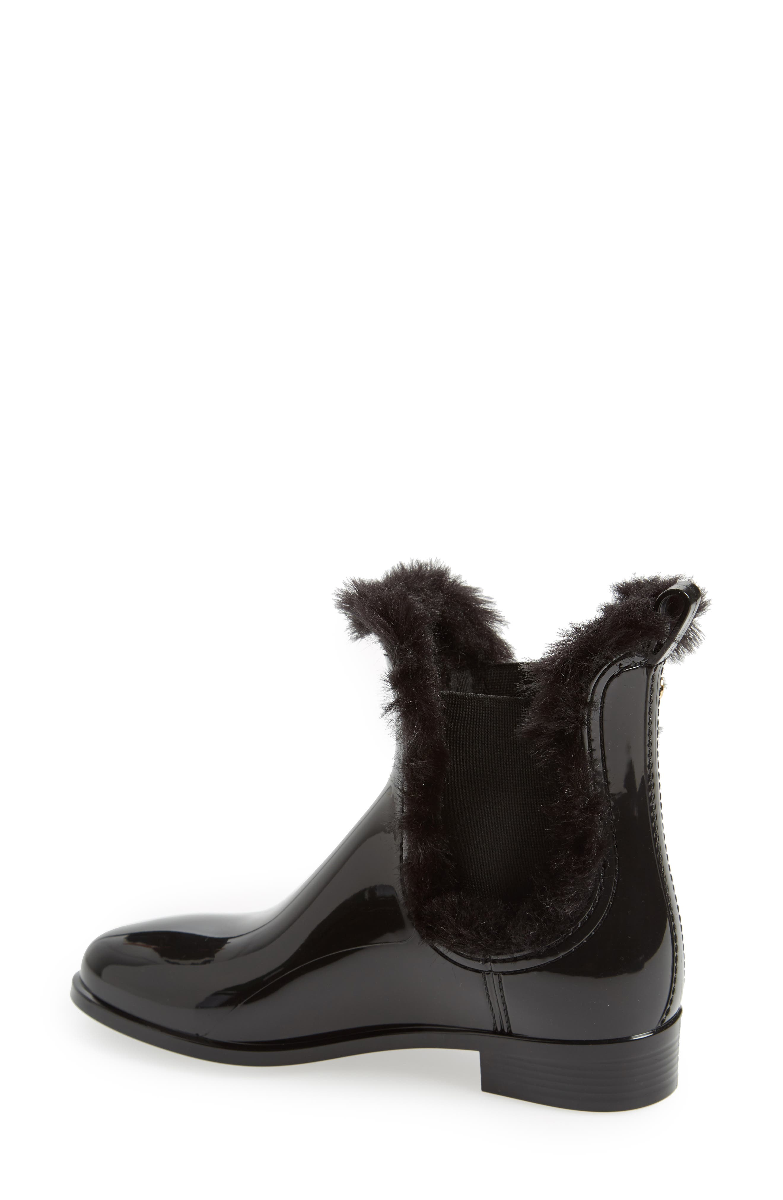 Aisha Waterproof Chelsea Boot with Faux Fur Lining,                             Alternate thumbnail 2, color,                             BLACK GLOSS