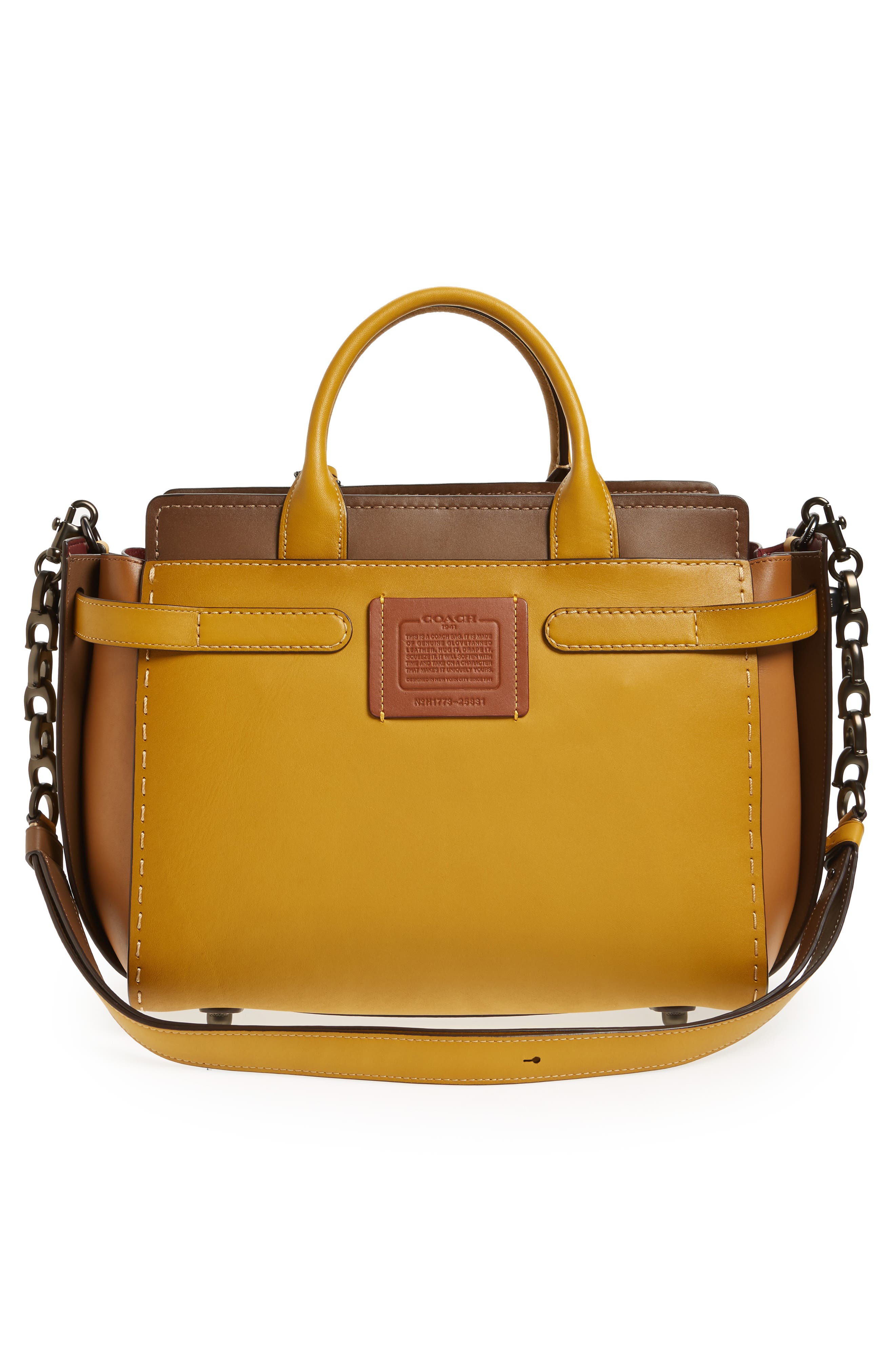 COACH Double Swagger Leather Satchel,                             Alternate thumbnail 3, color,                             700