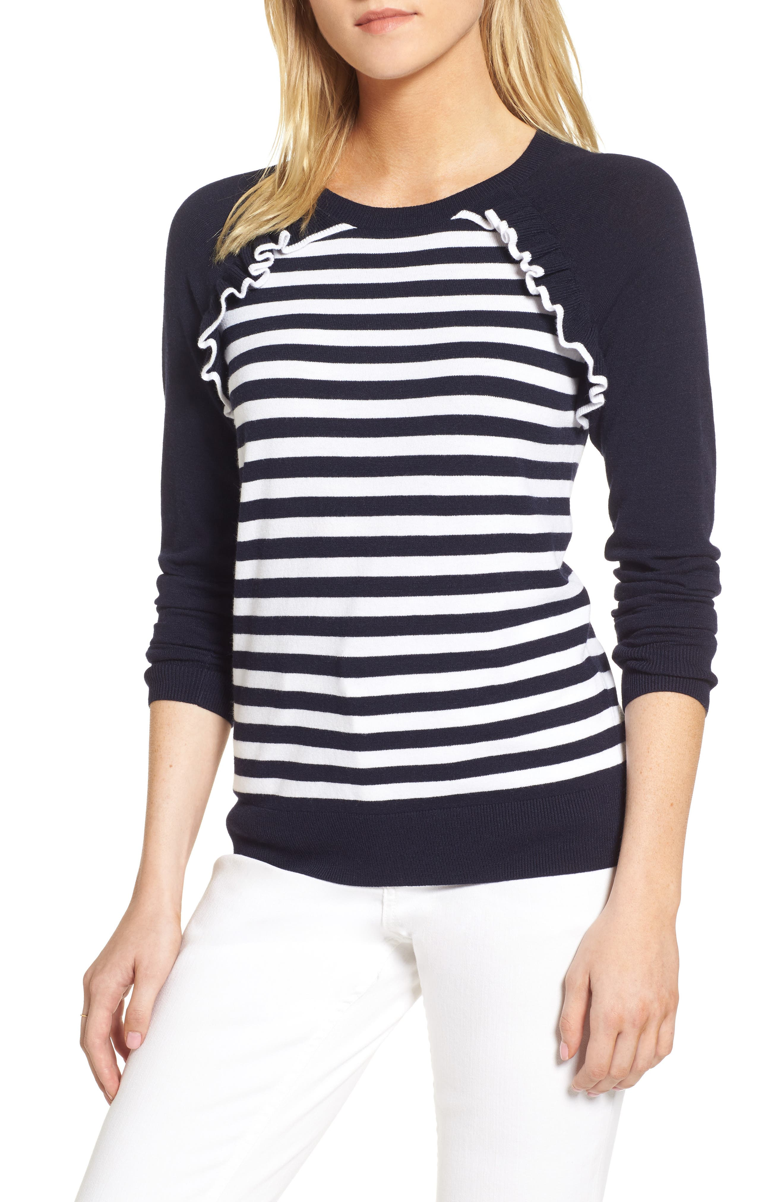 Ruffle Trim Stripe Sweater,                             Main thumbnail 2, color,