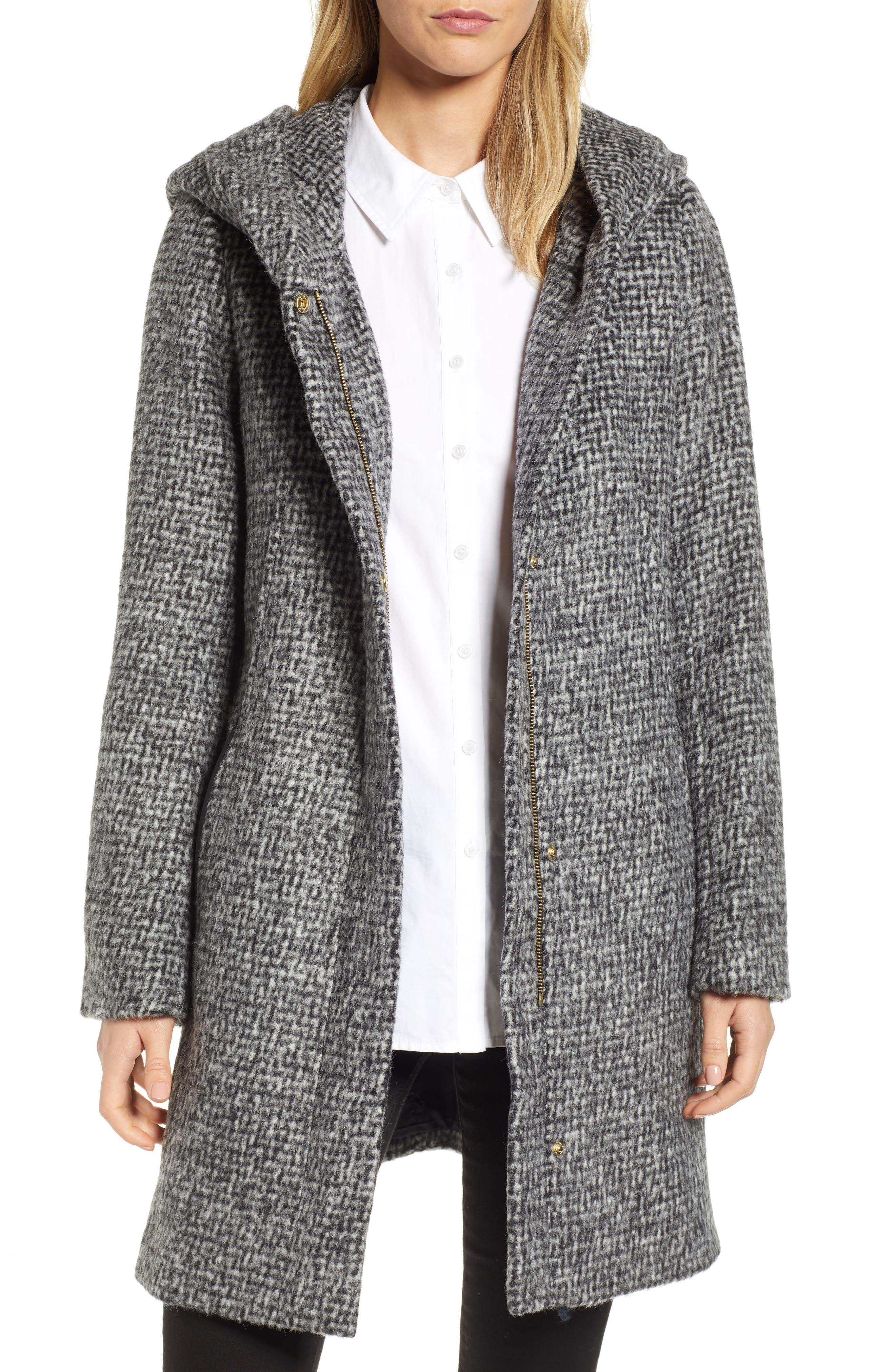 Fuzzy Houndstooth Coat, Main, color, BLACK/ WHITE