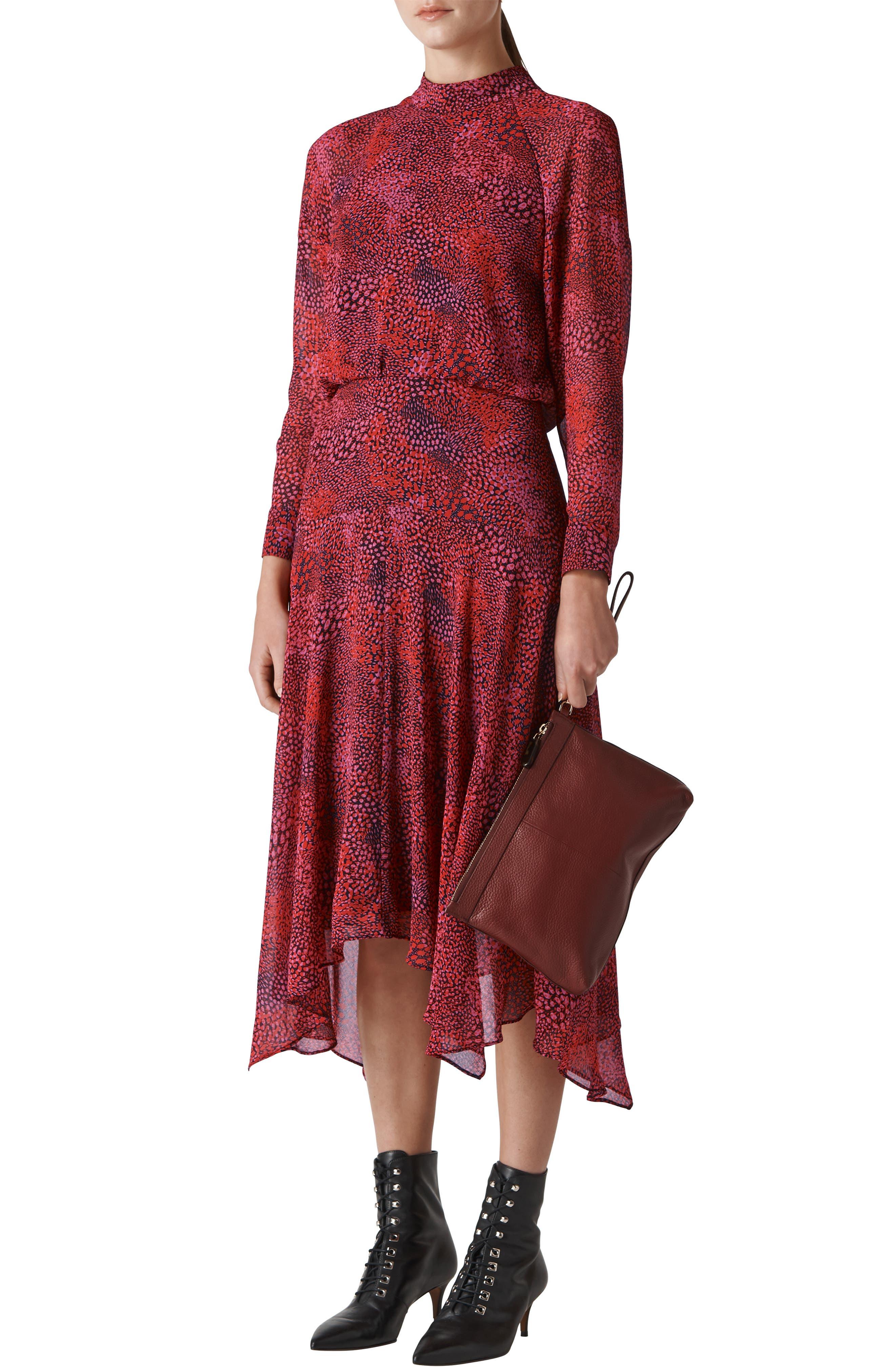 WHISTLES Carlotta Abstract Animal Print Dress, Main, color, PINK/ MULTI
